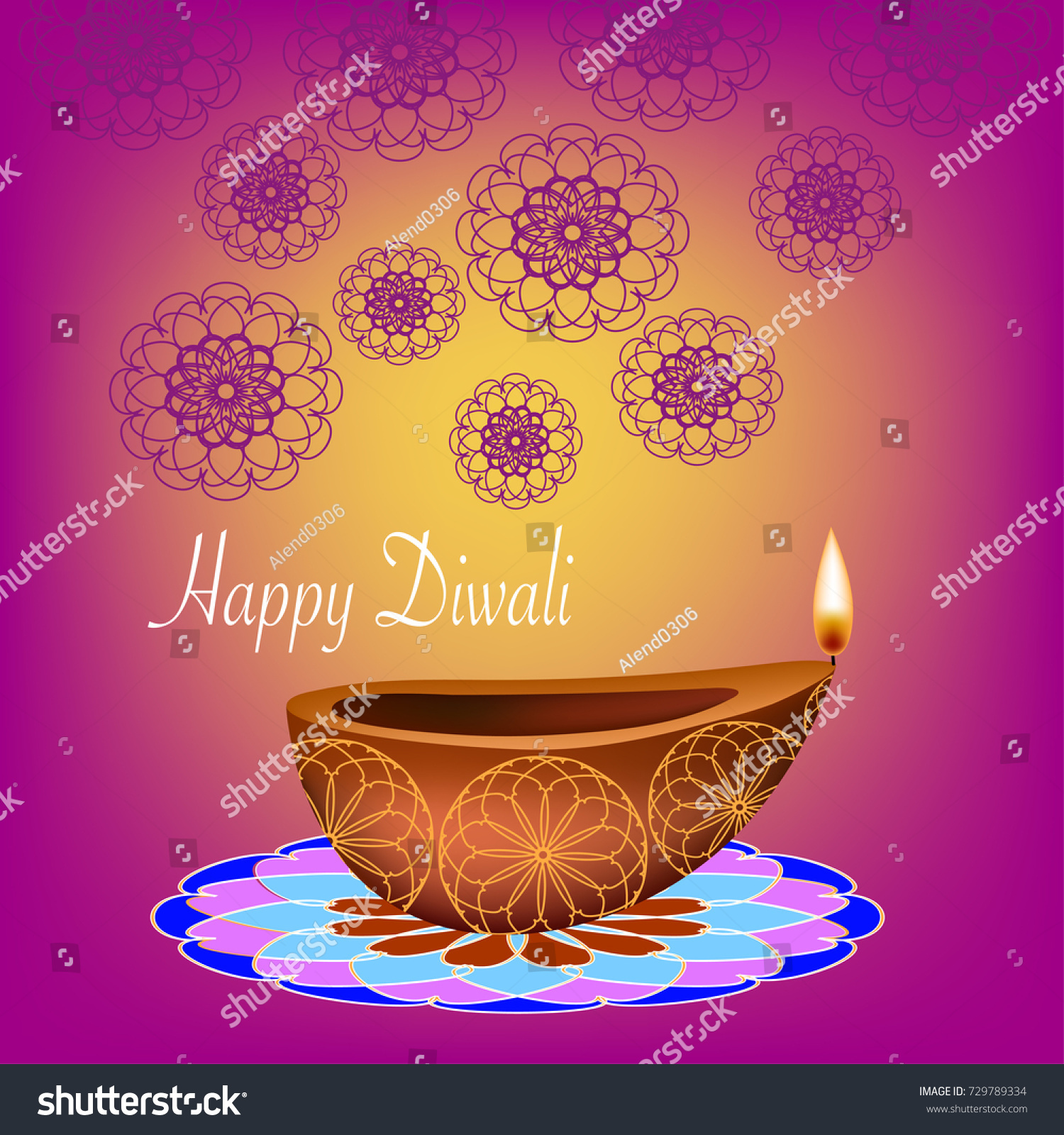 Beautiful Diwali Vector Card Greetings Vector Stock Vector Royalty