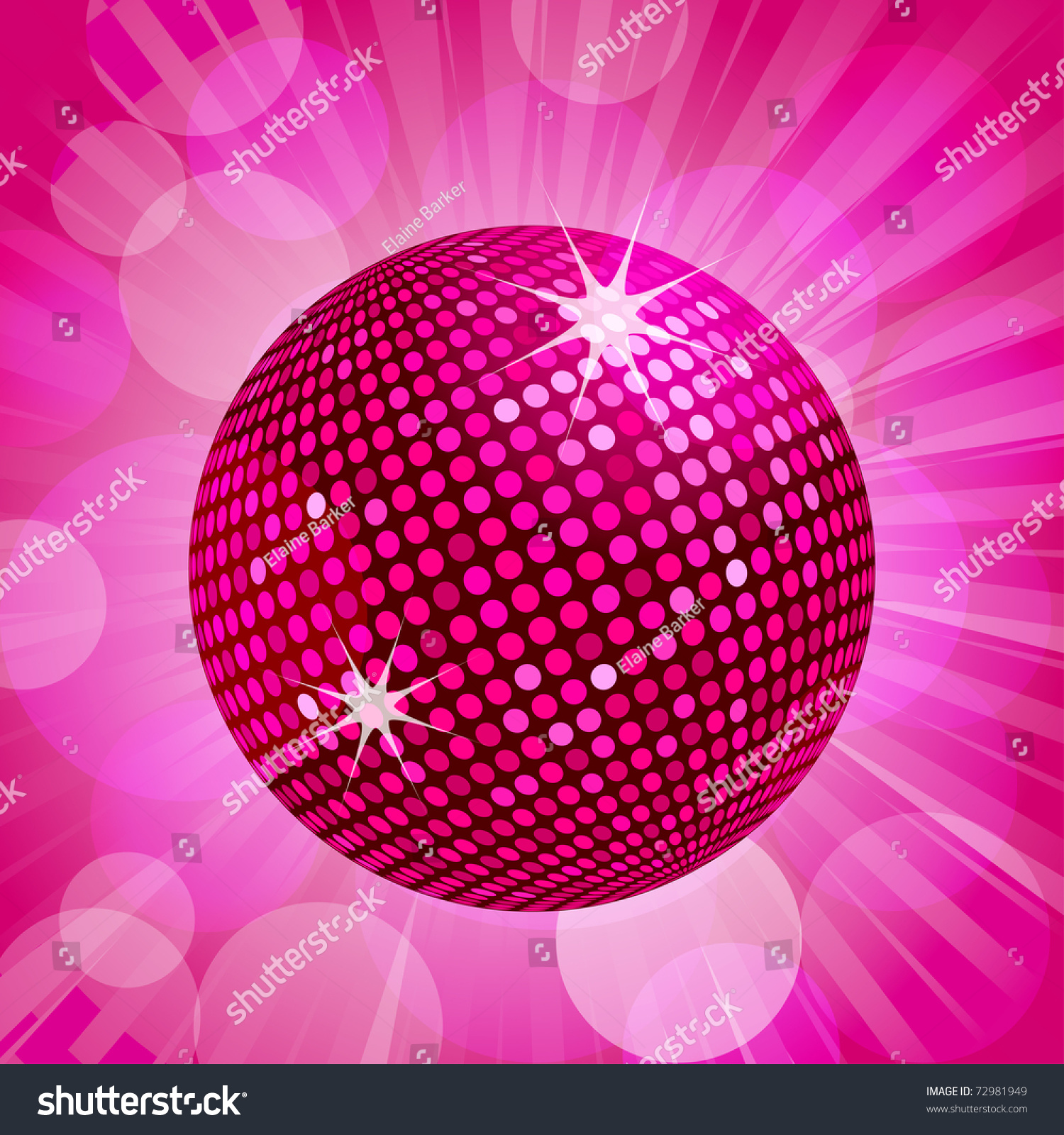 Sparkling Pink Disco Ball On Pink Stock Vector 72981949