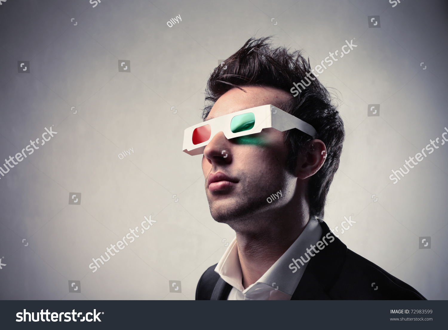 Young Man Wearing 3d-Glasses Stock Photo 72983599 ...