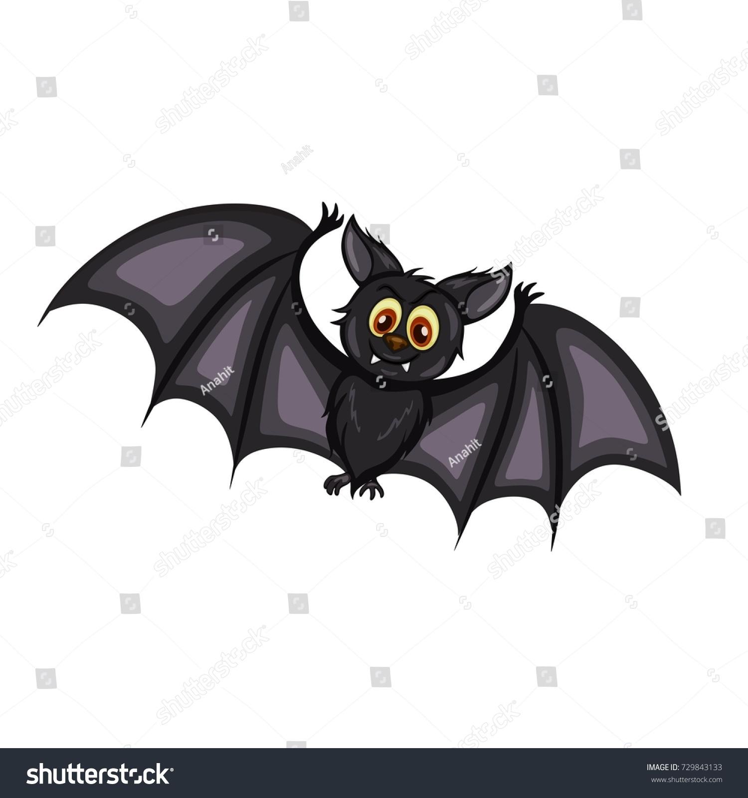 cartoon vector illustration cute black bat stock vector 729843133