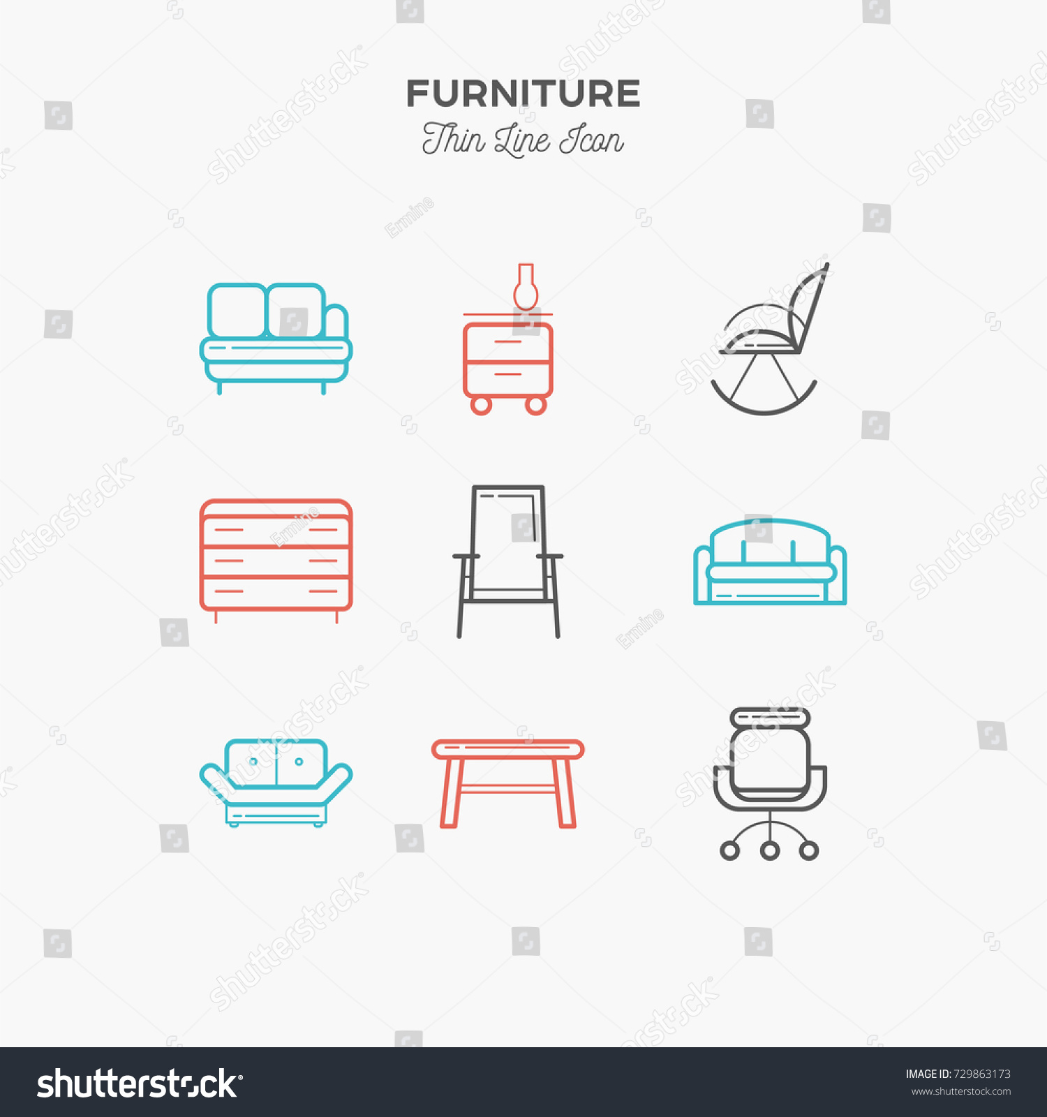 Furniture Sofa Table Chair Curbstone More Stock Vector