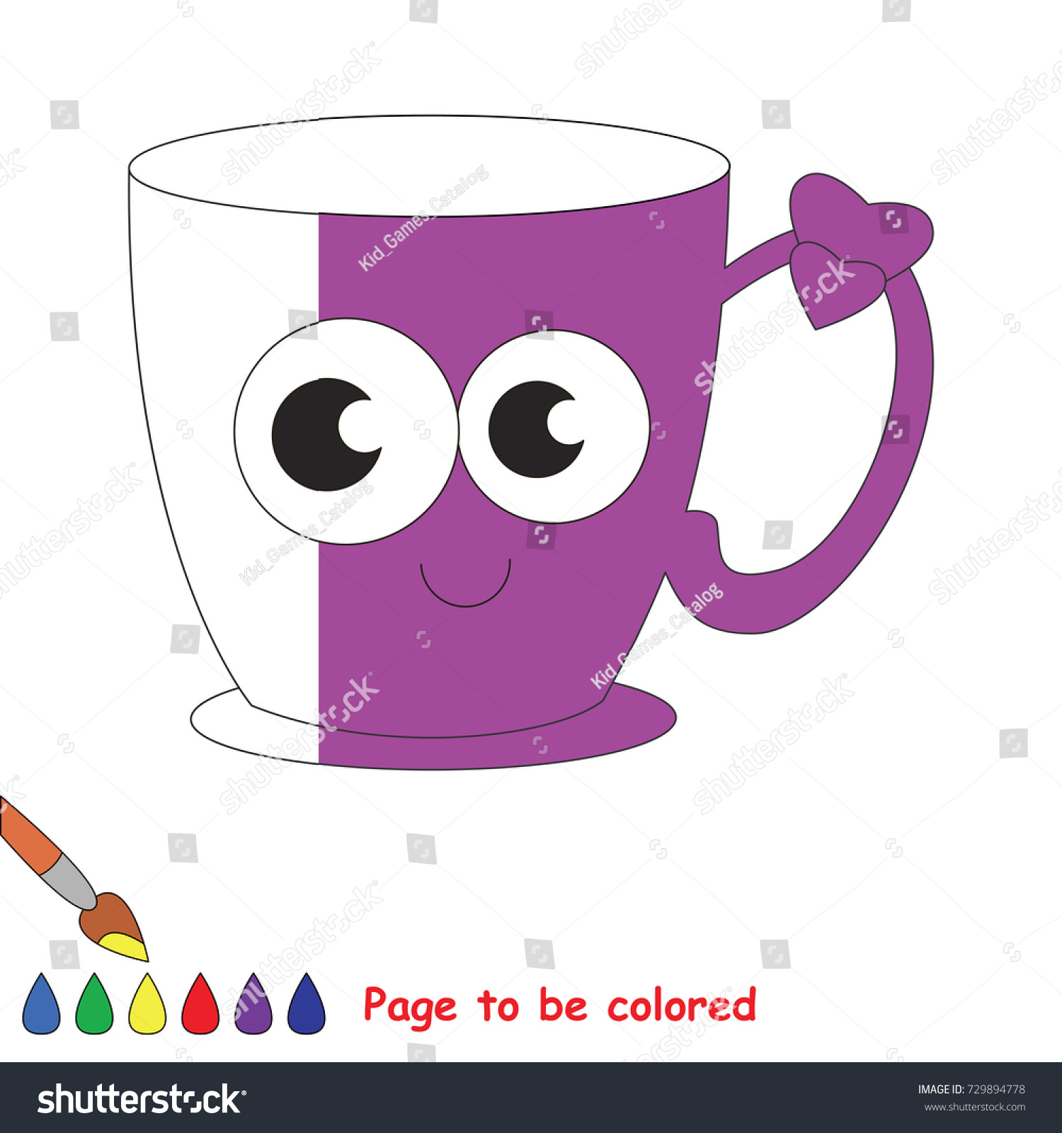 funny violet cup coloring book educate stock vector 729894778