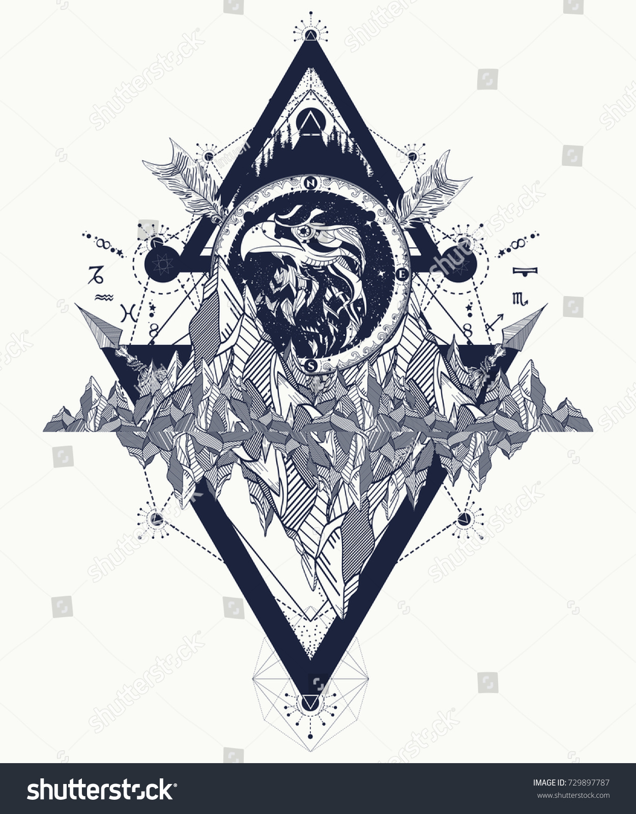 Eagle Tattoo Art Mountains Crossed Arrows Stock Vector Royalty Free