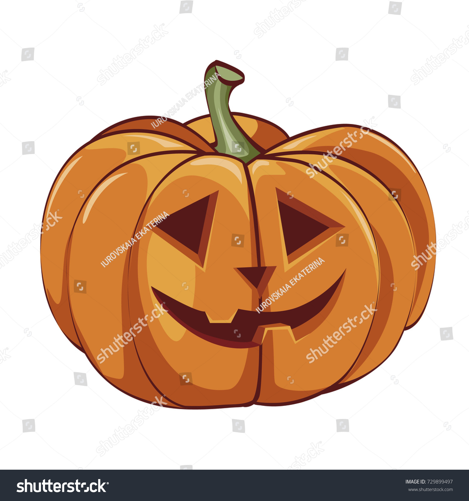 Vector Halloween Pumpkin Happy Face Halloween Stock Vector 729899497 ...
