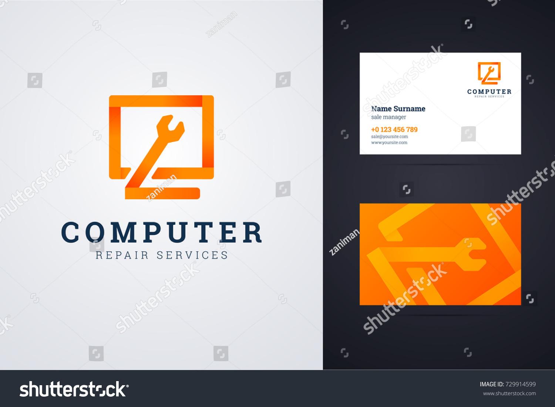 Computer Repair Service Logo Business Card Stock Vector 729914599 ...