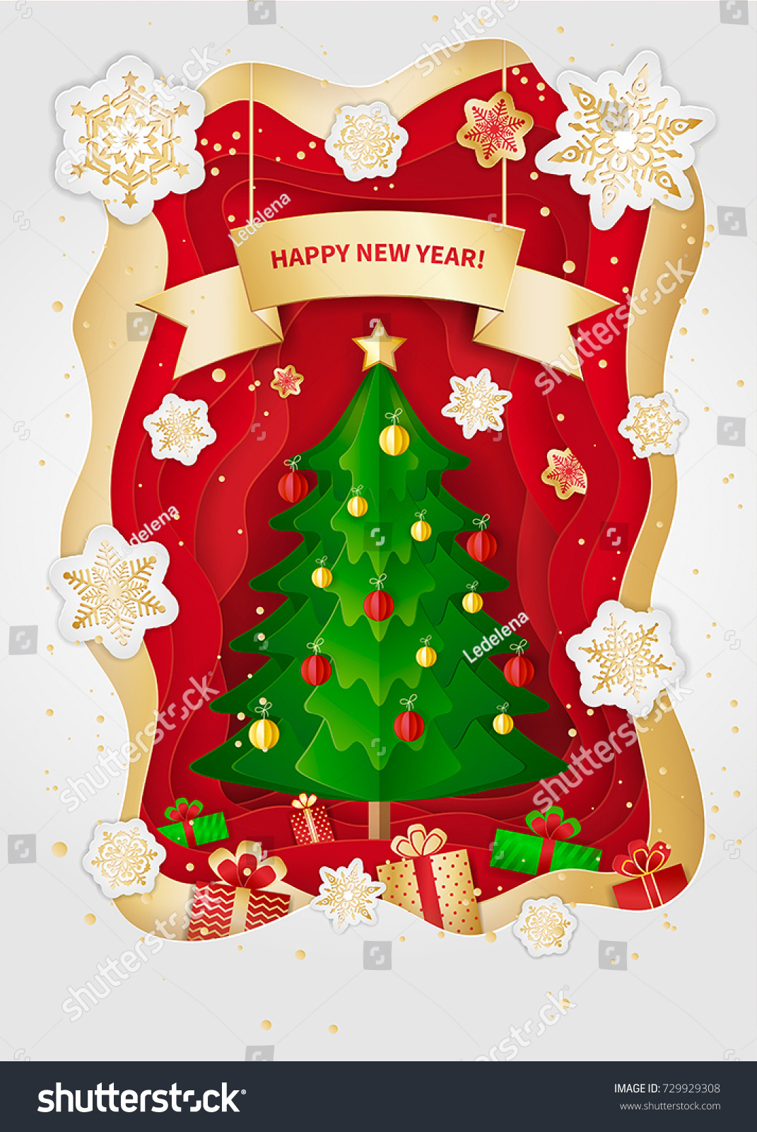New Year Christmas Greeting Card Design Stock Vector 729929308