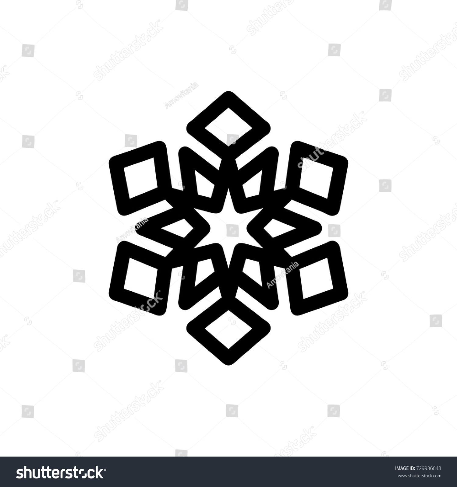 Vector Black Snowflake Icon Isolated On Stock Vector Royalty Free