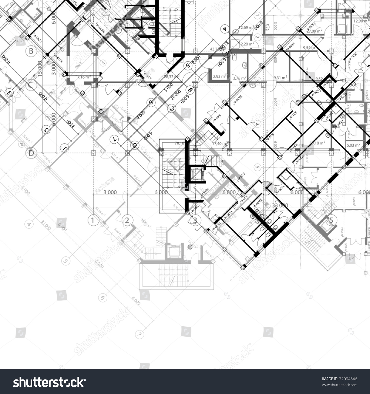 Vector architectural black white background plans stock Portfolio home plans