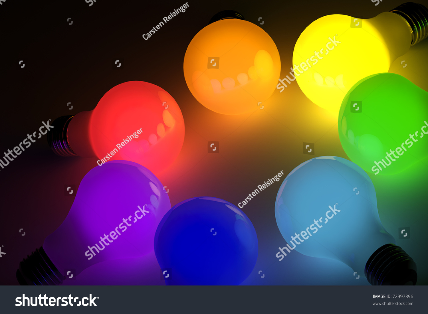 colored light bulbs over black background preview save to a lightbox - Colored Light Bulbs