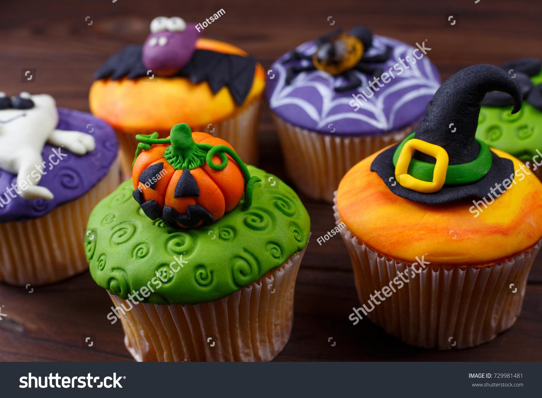 Close Delicious Homemade Cupcakes Funny Halloween Stock