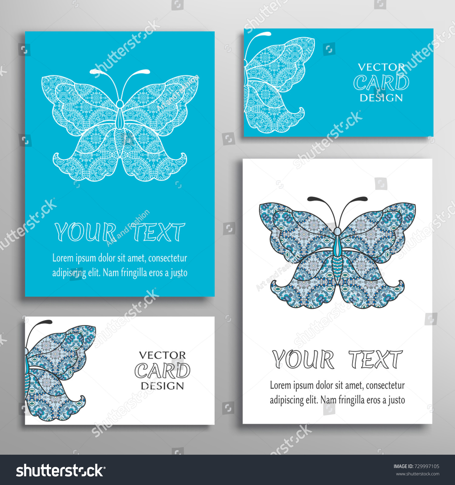 Decorative Butterfly Invitations Greeting Business Cards Stock ...