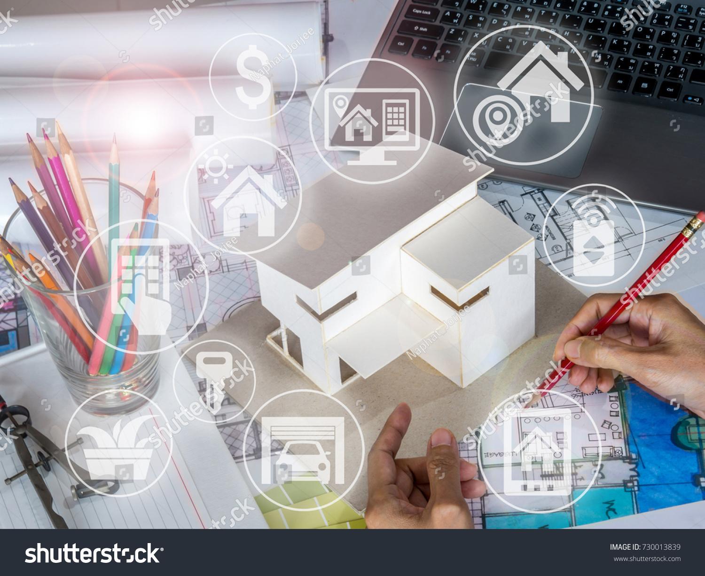 Architect Interior Designer Working House Model Stock Photo (Royalty ...