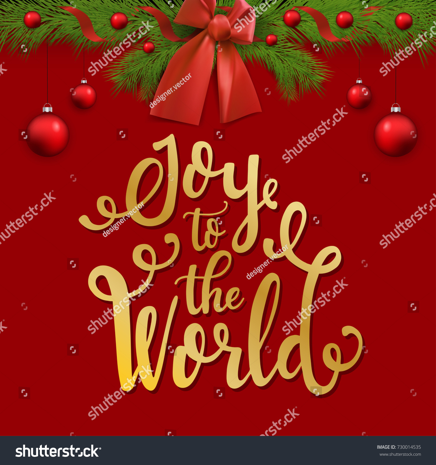 Joy World Christmas Card Christmas Lettering Stock Vector (Royalty ...