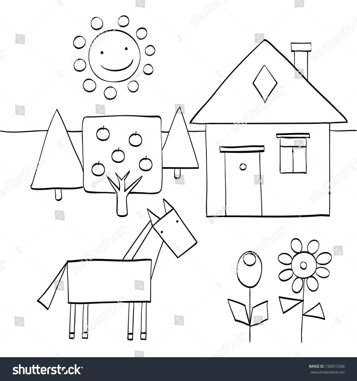 Coloring Page For Children To Find Geometric Shapes In Nature House Trees Sun