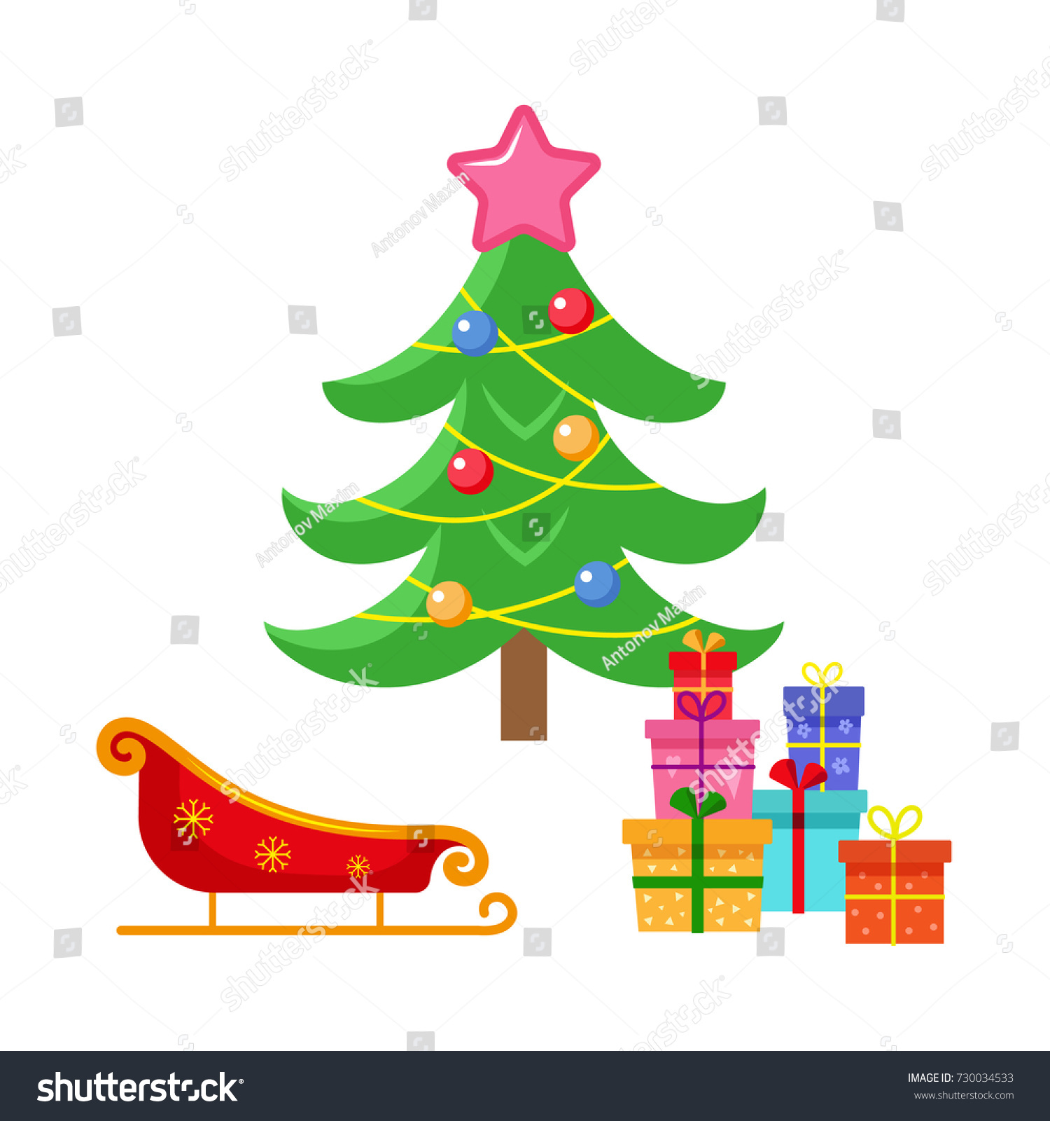 vector flat cartoon christmas winter holiday stock vector