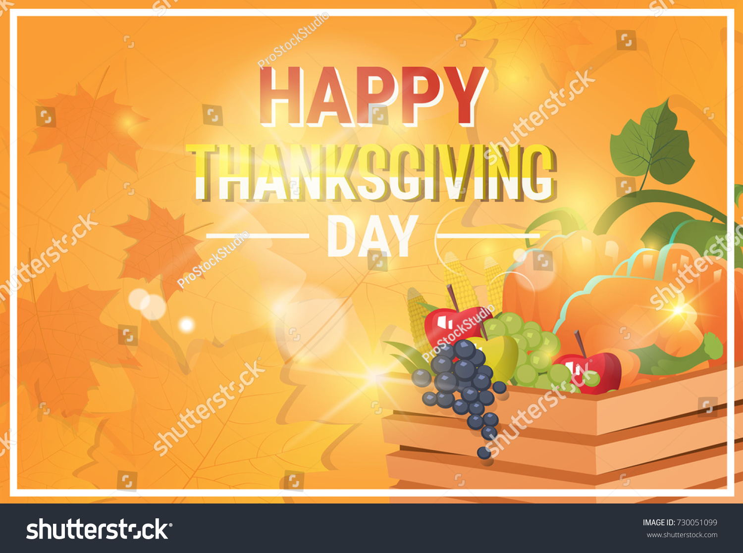 Happy Thanksgiving Day Autumn Traditional Holiday Stock Vector