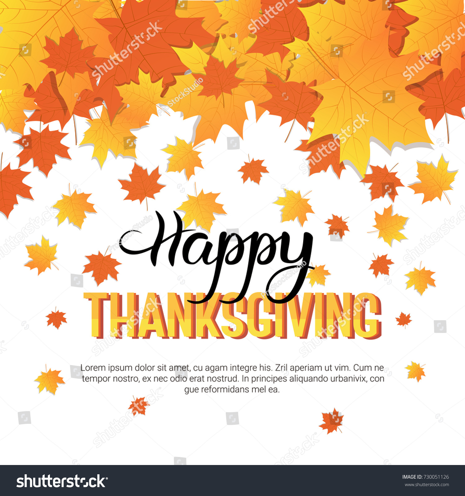 Happy thanksgiving day autumn traditional holiday greeting card flat id 730051126 m4hsunfo