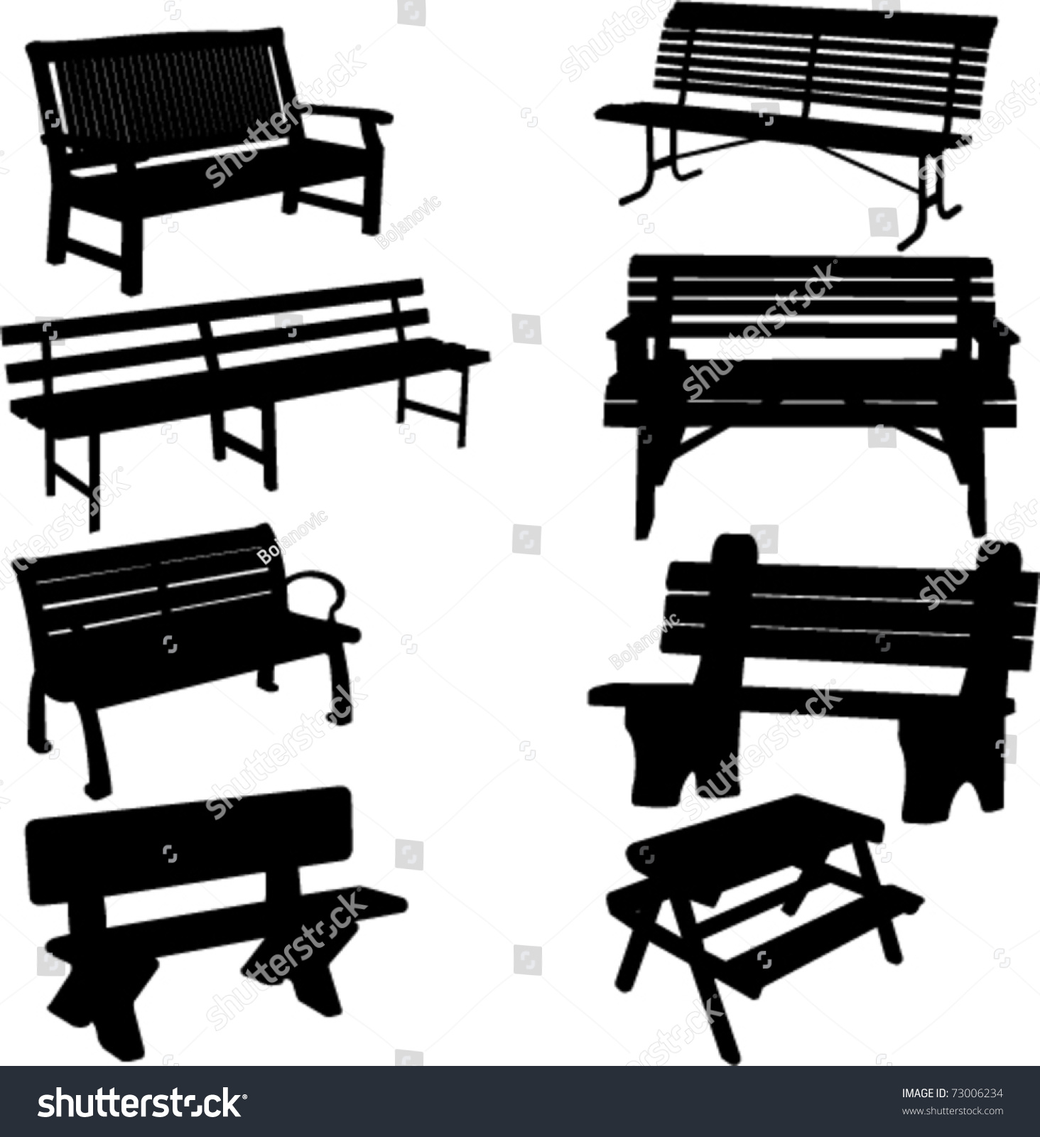 Royalty-free Bench silhouette 2 - vector #73006234 Stock Photo ... for Bench Silhouette Side  153tgx