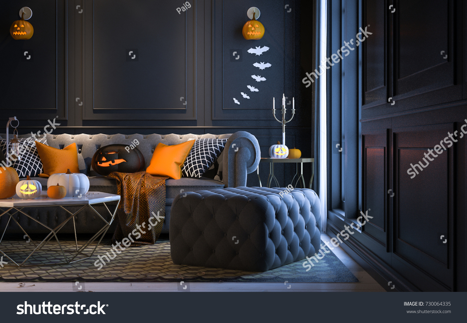Halloween Party Night Living Room Decorations Stock