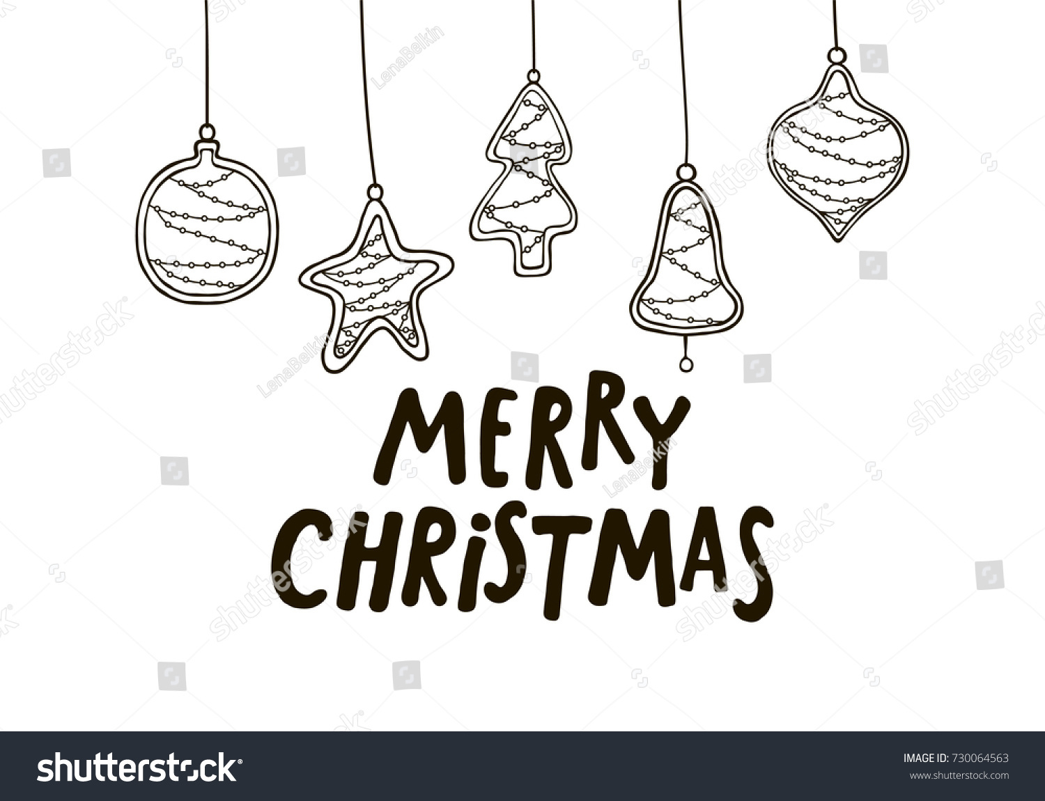 Merry Christmas Black White Greeting Card Stock Vector Royalty Free