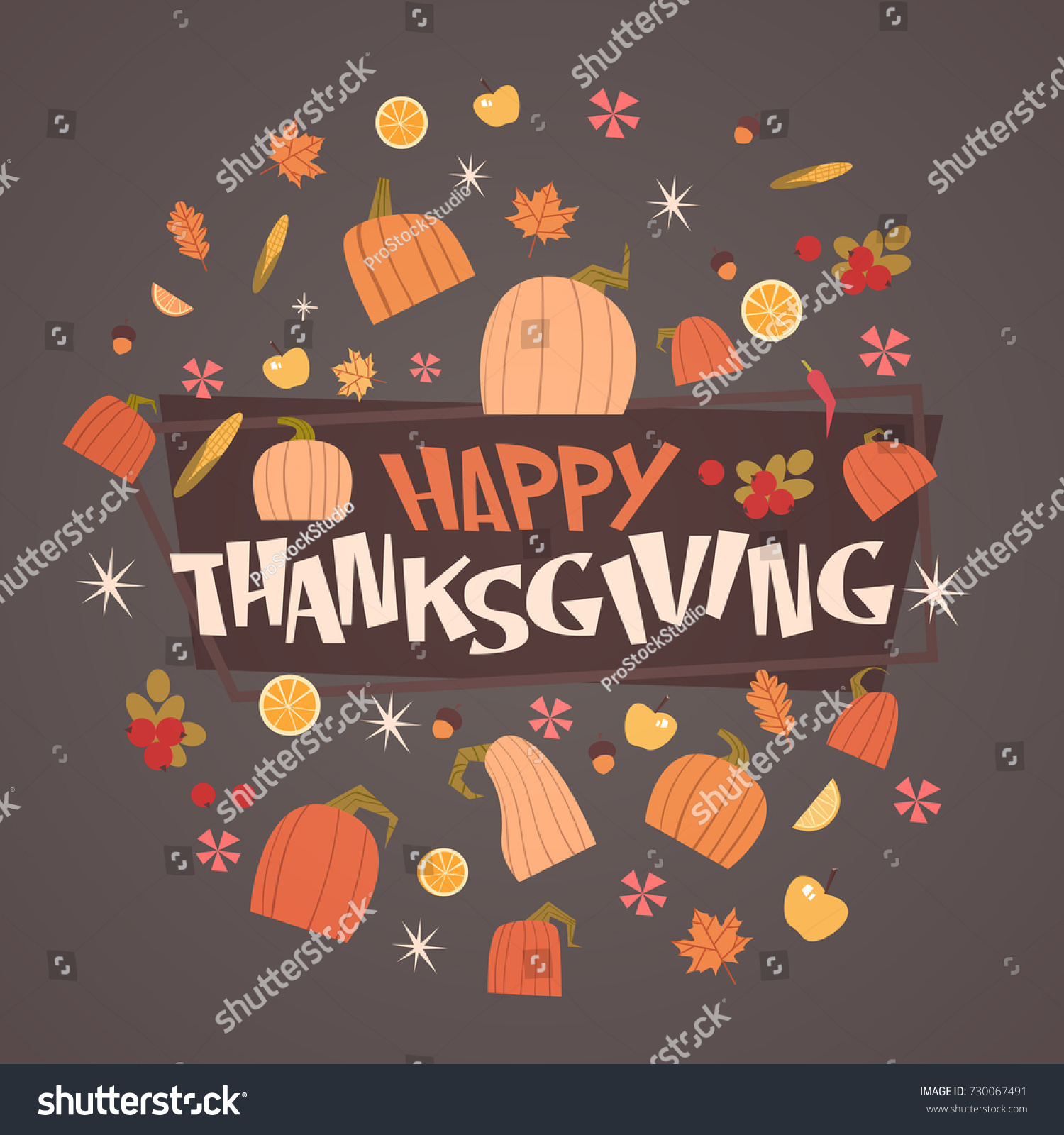 Happy Thanksgiving Day Autumn Traditional Harvest Stock Vector