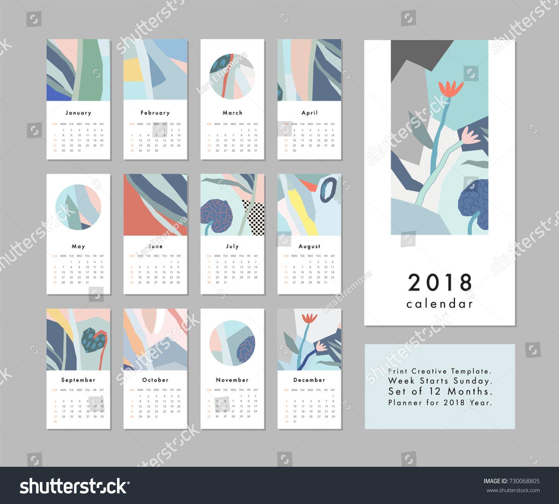 calendar 2018 printable creative template abstract stock vector