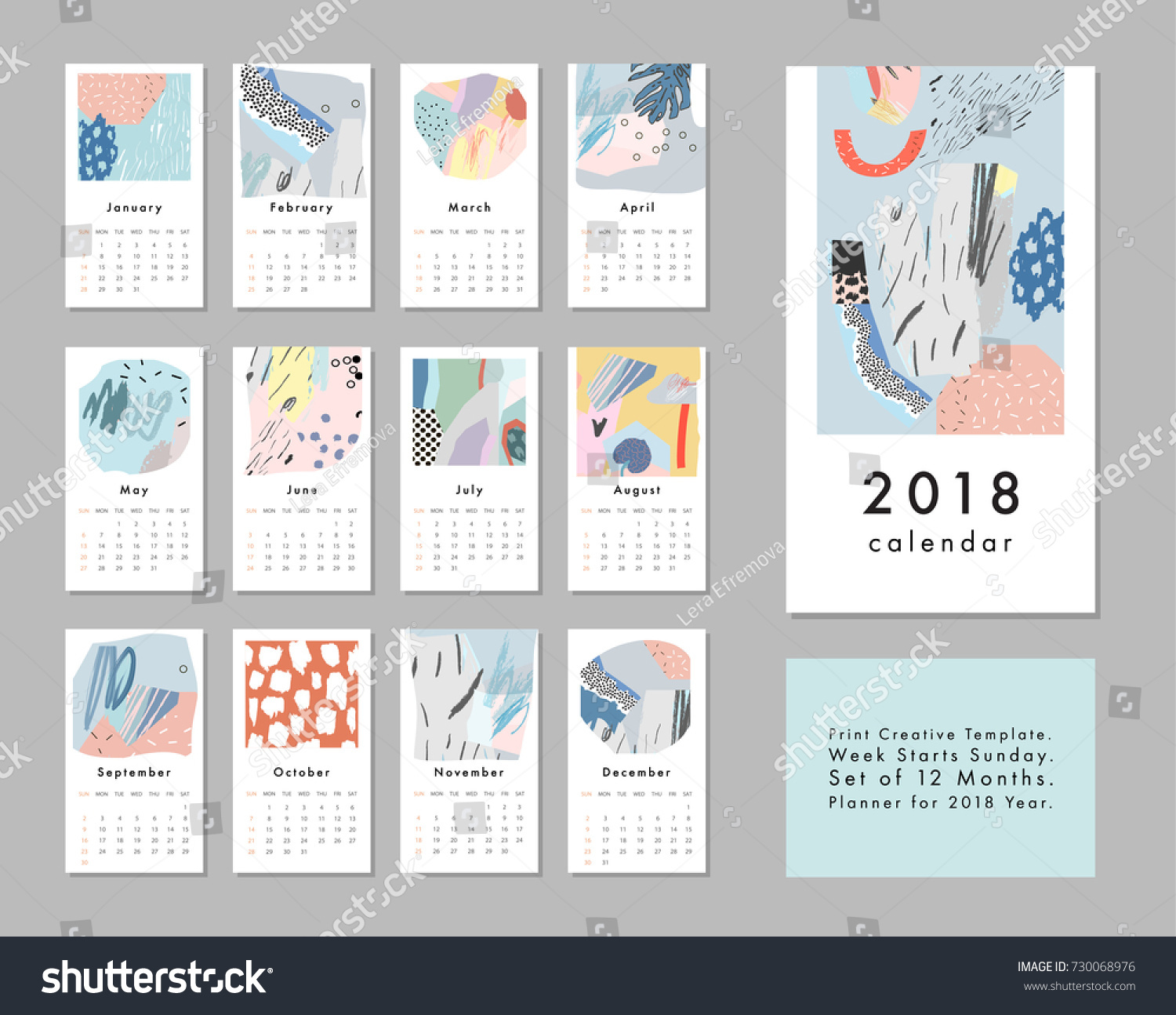 Calendar Abstract Art : Calendar printable creative template abstract stock