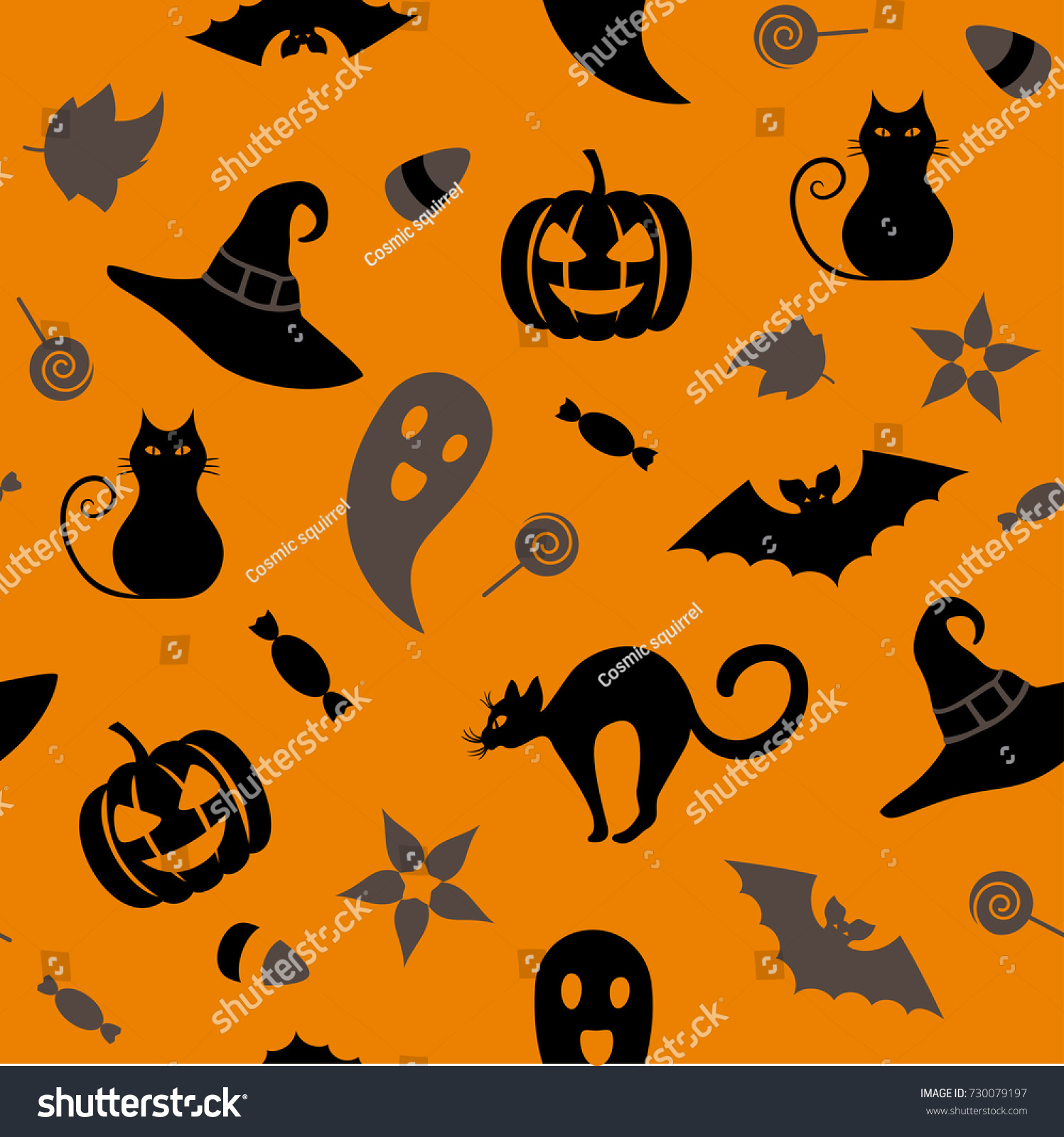 Seamless Halloween Pattern Traditional Symbols Cat Stock Vector