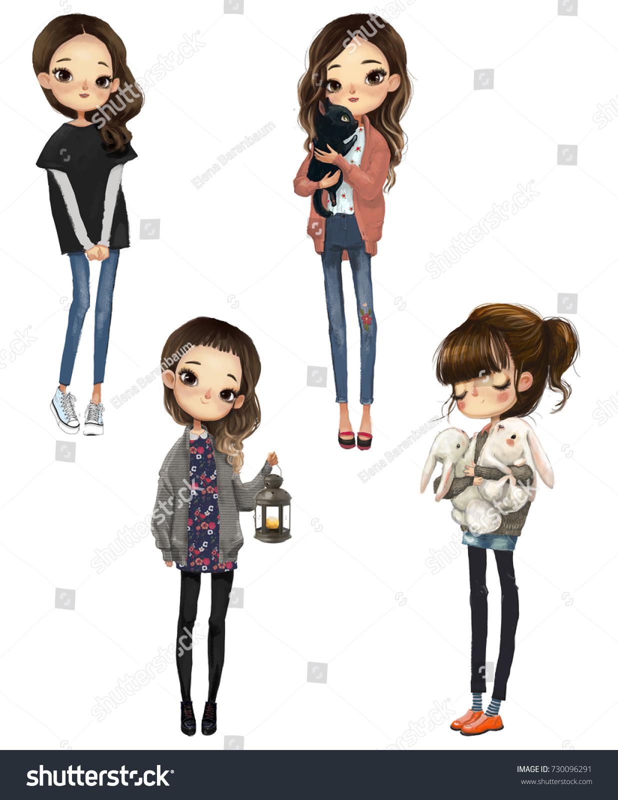 set four cartoon cute girls stock illustration 730096291 - shutterstock