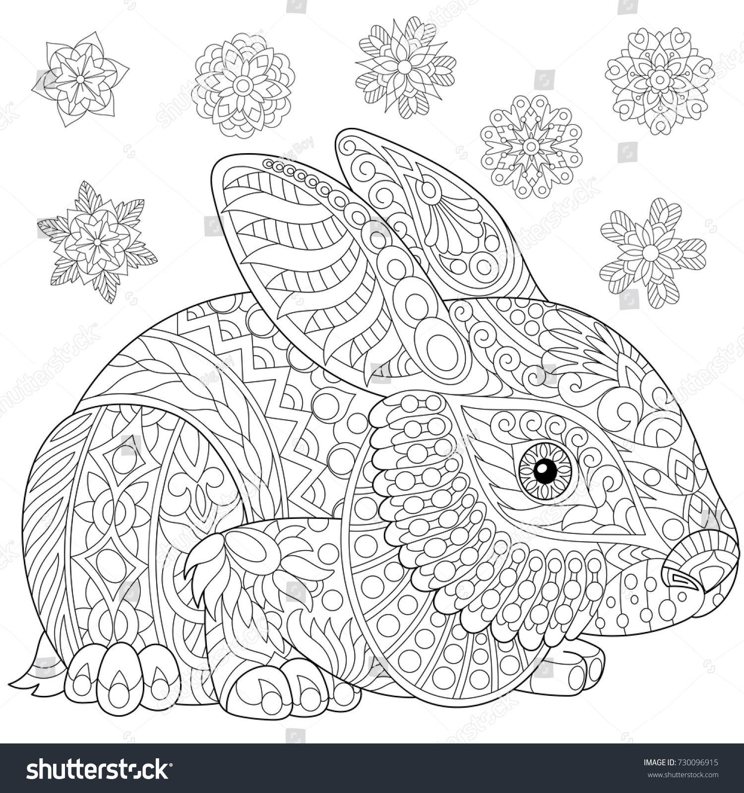 Coloring Page Rabbit Bunny Winter Snowflakes Stock Vector (Royalty ...