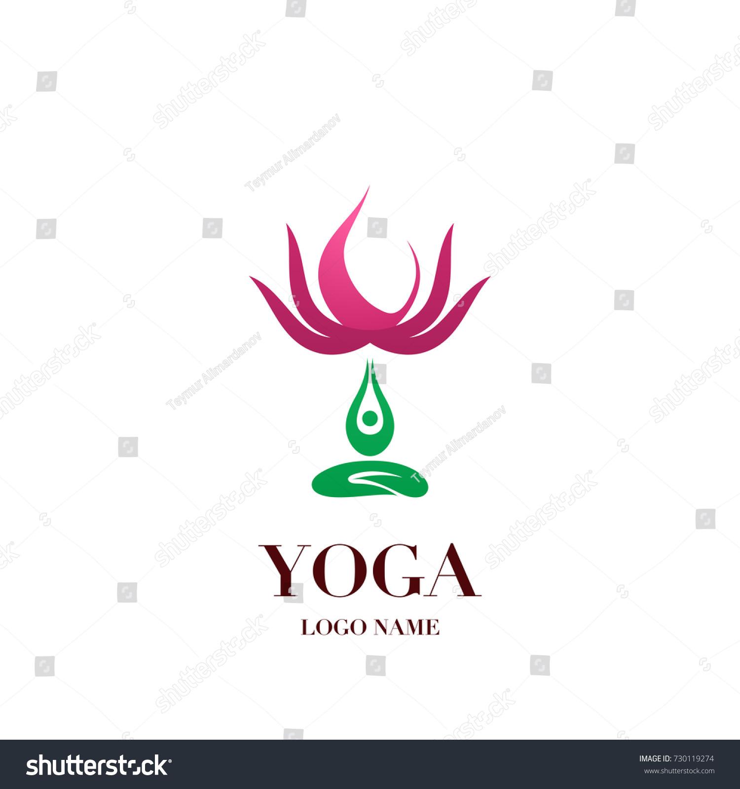 Yoga Pose Lotus Flower On Background Stock Vector 730119274
