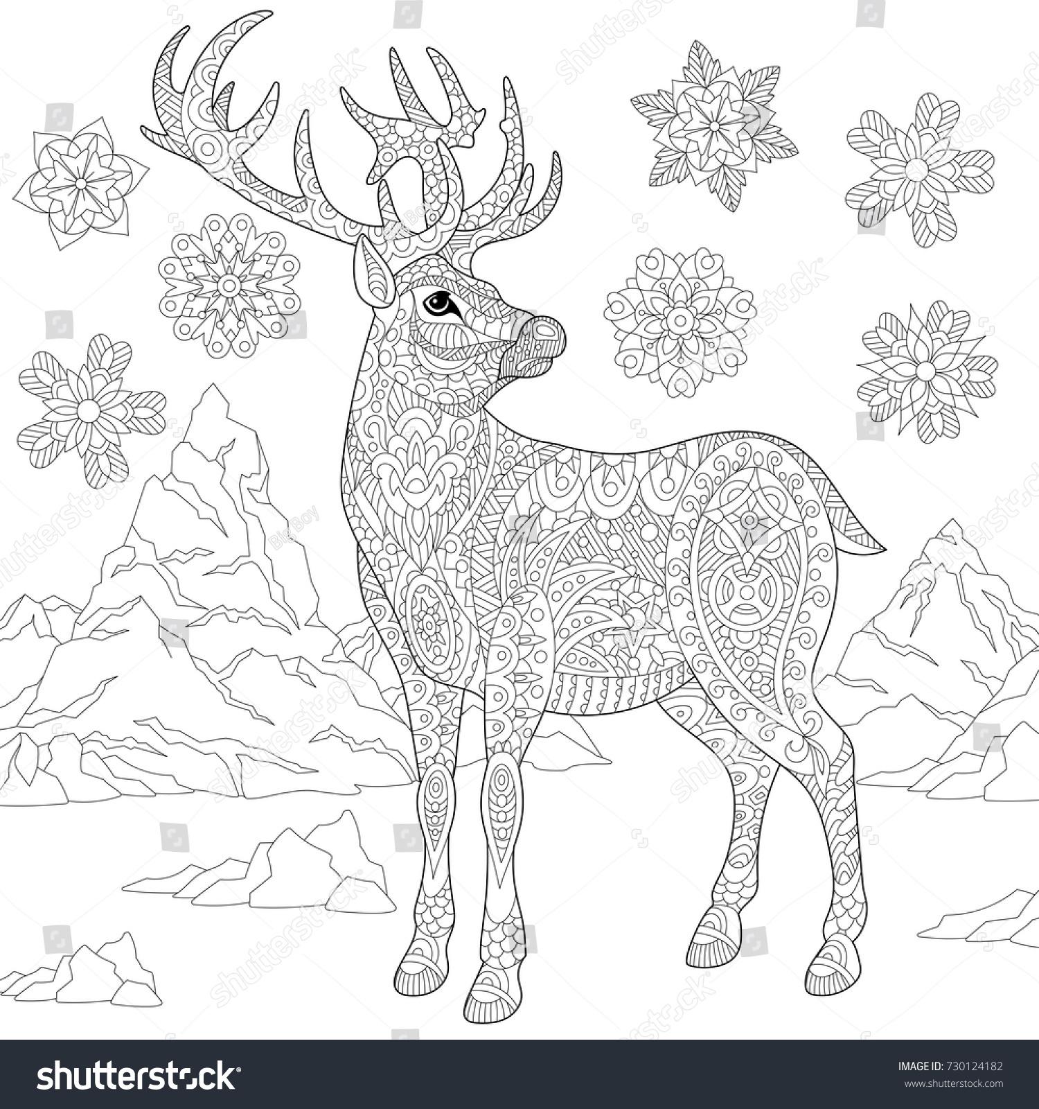 Coloring Page Deer Reindeer Winter Snowflakes Stock Vector 730124182 ...