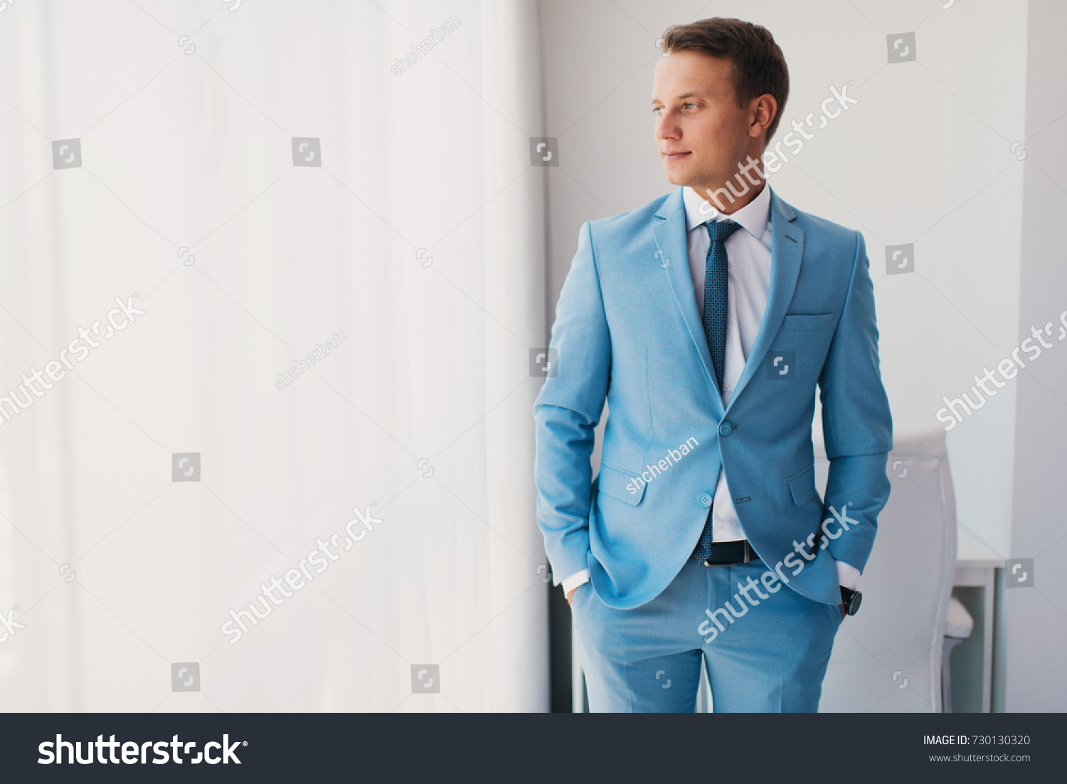 Handsome Man Blue Suit Portrait Young Stock Photo 730130320 ...