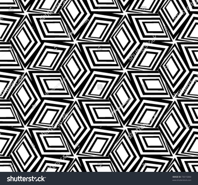 geometric black white seamless pattern 3d stock vector