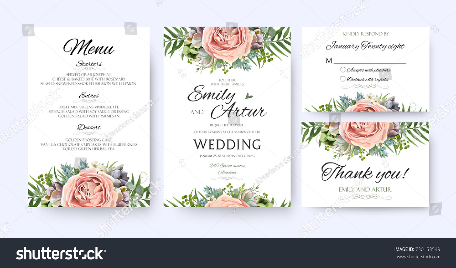 stock vector wedding invitation floral invite card design garden lavender pink peach rose succulent wax green 730153549