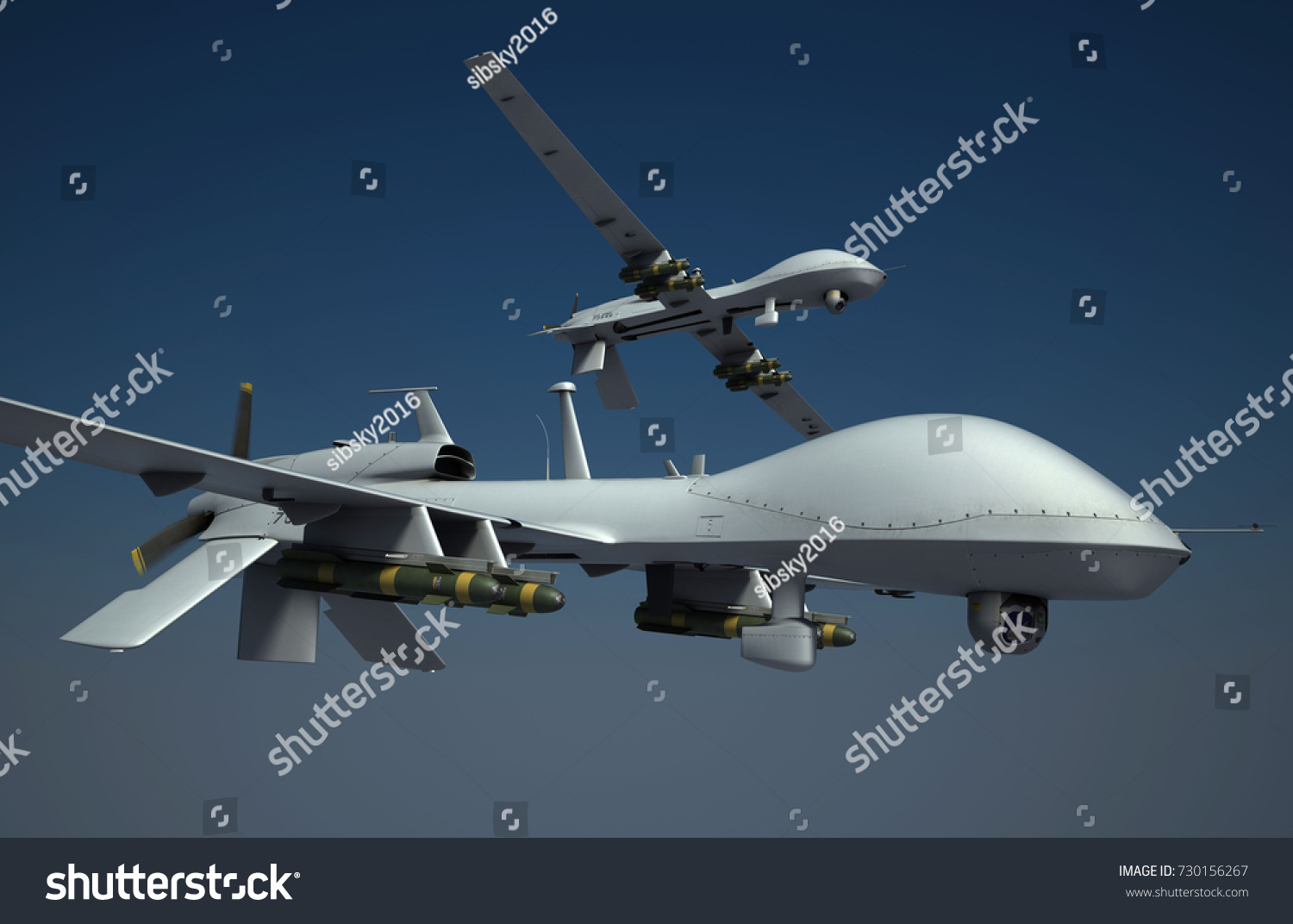 Military Surveillance Drones Armed With Hellfire Missiles Flying High 3d Render