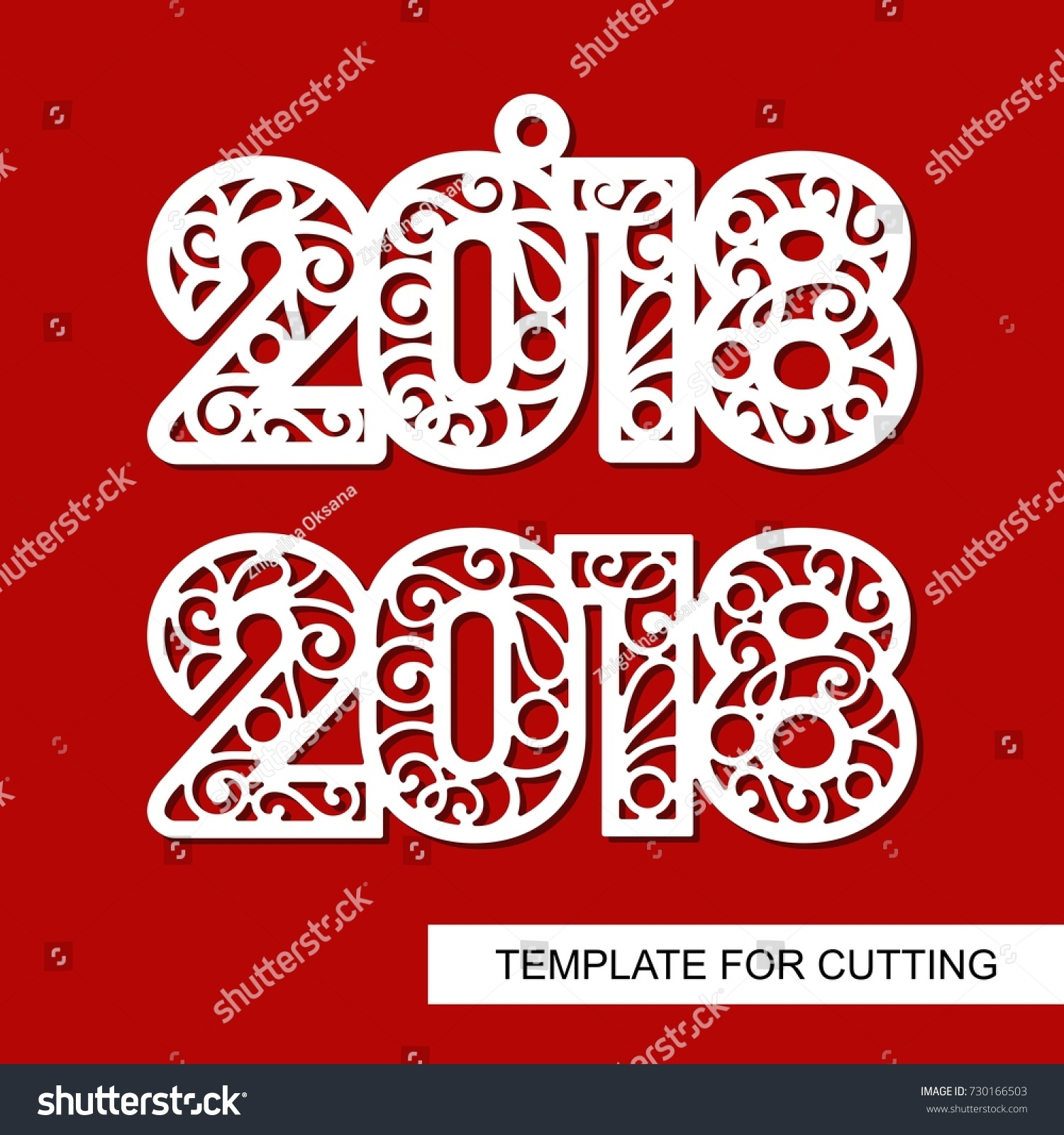 Christmas Decoration 2018 Template Laser Cutting Stock Vector 2018