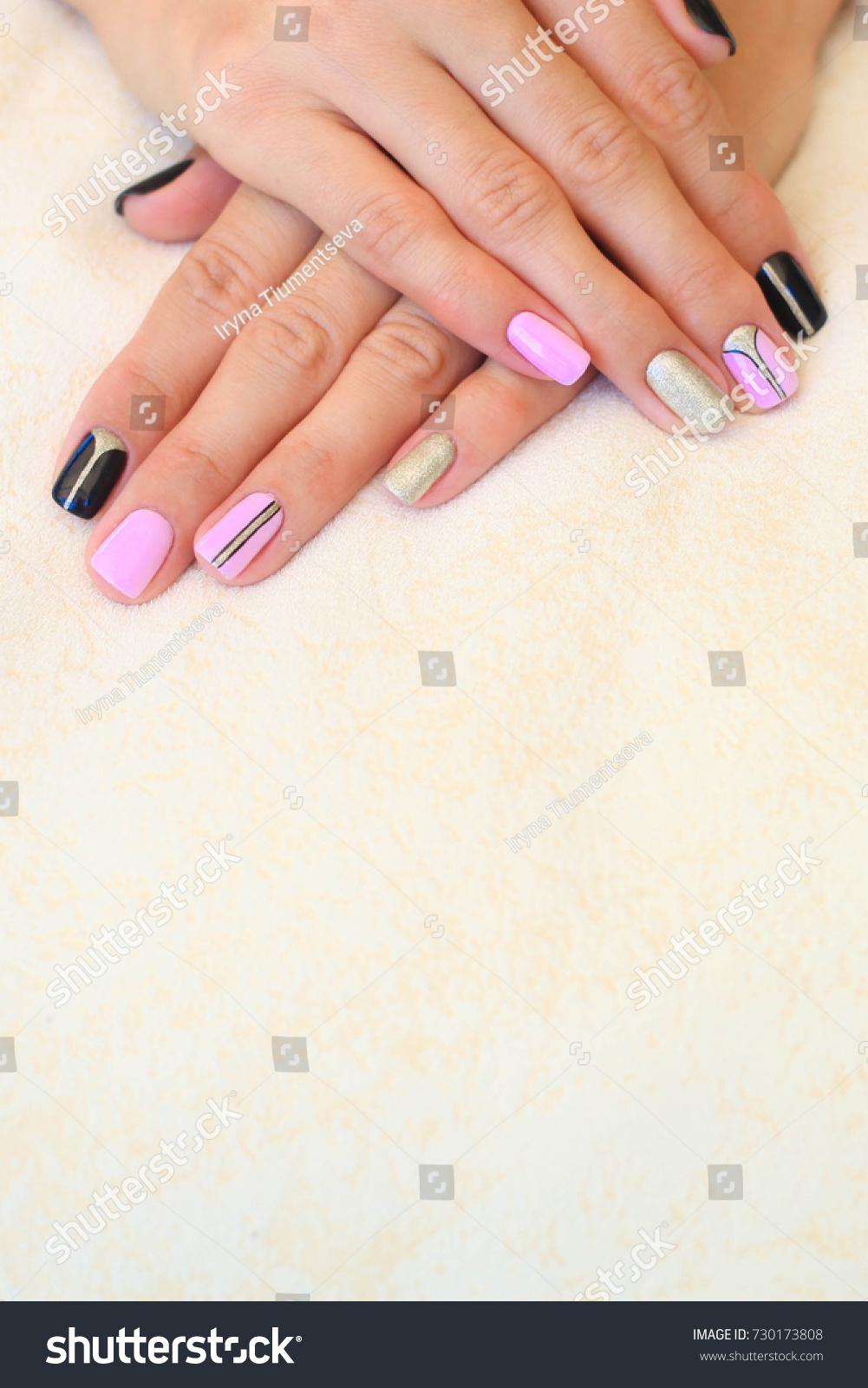 Natural Nails Gel Polish Stylish Nails Stock Photo & Image (Royalty ...