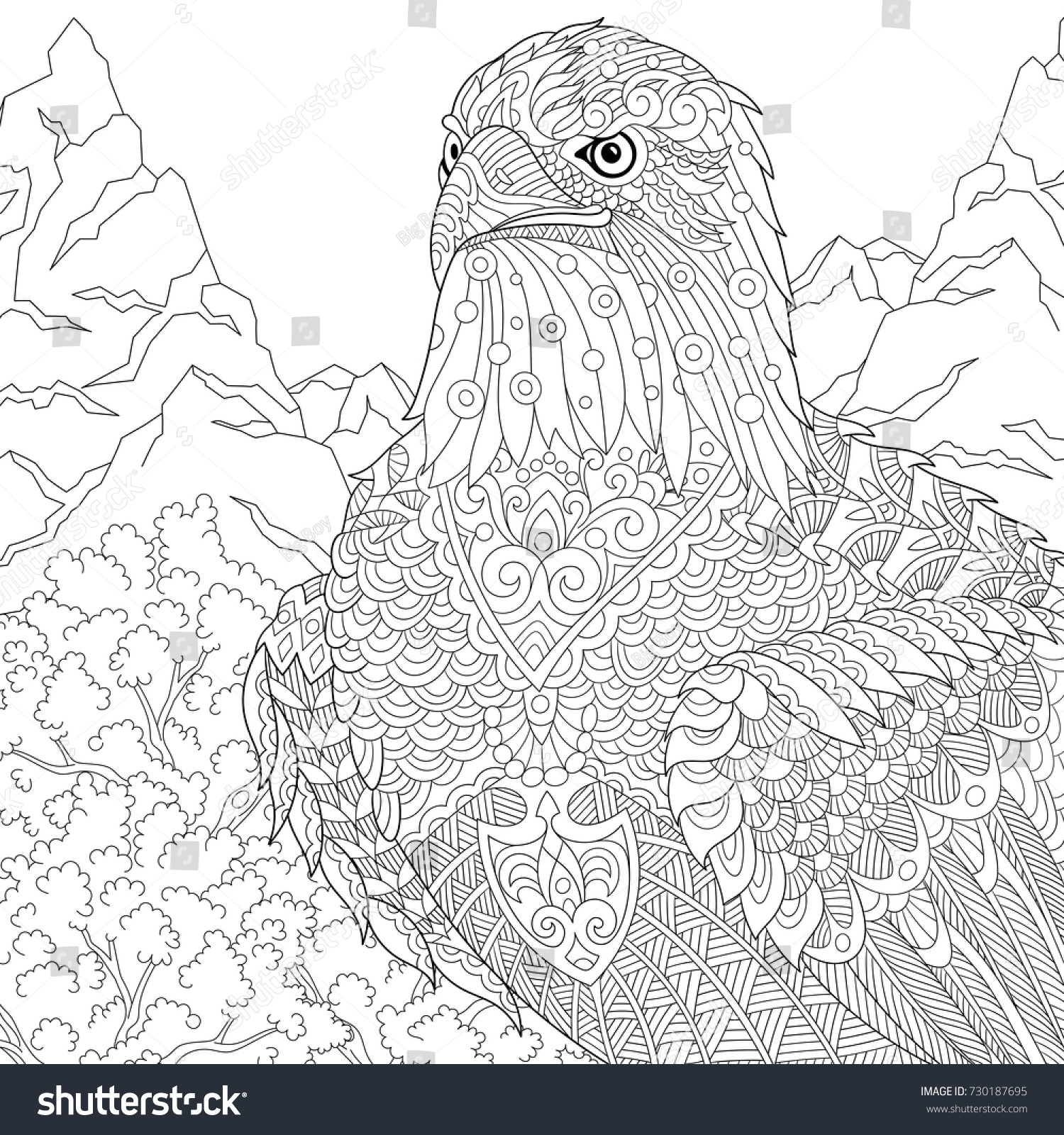 Coloring Page American Bald Eagle National Stock Vector
