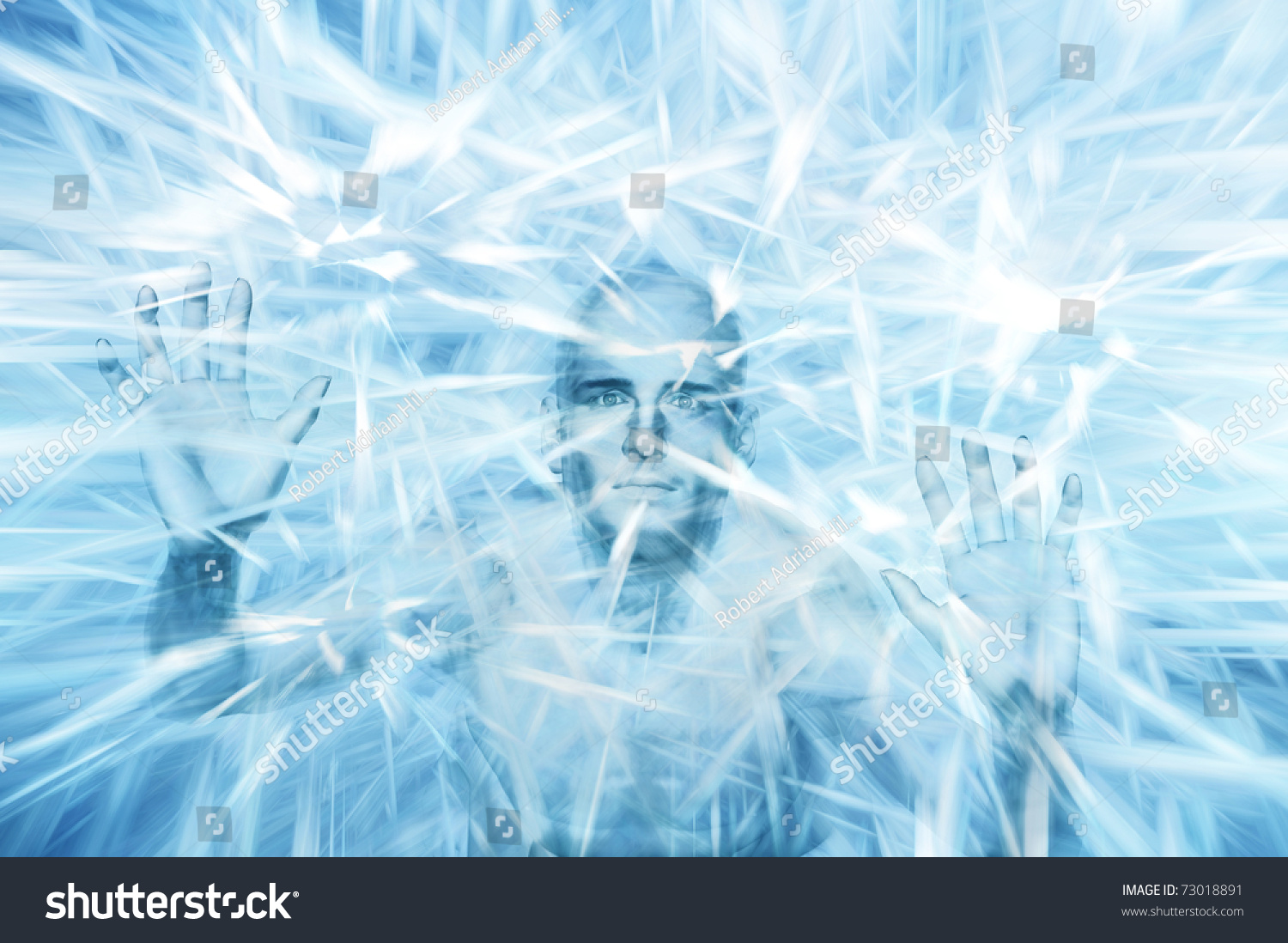 man within block frozen ice eyes stock illustration royalty free