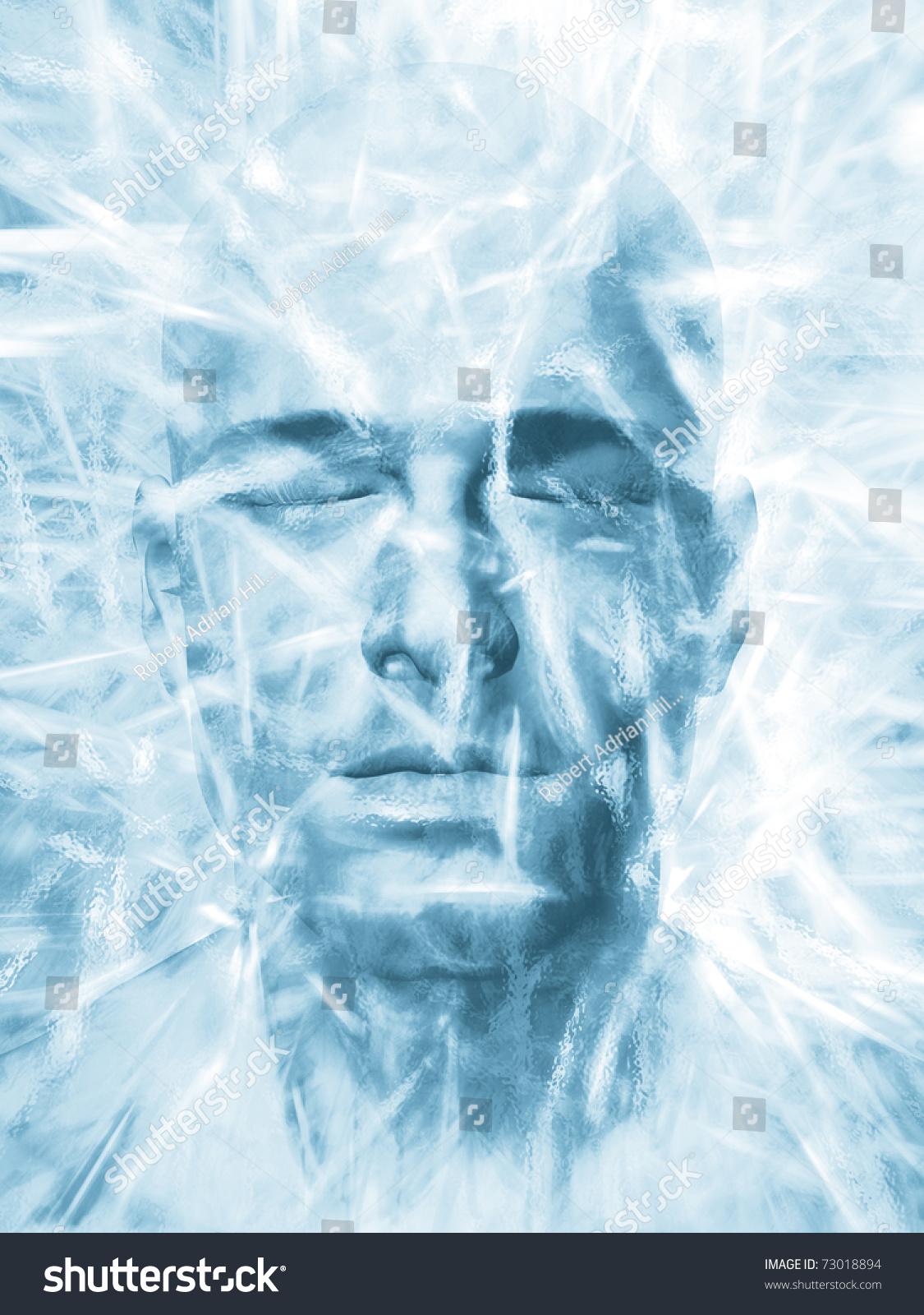 render mans head frozen block ice stock illustration royalty free