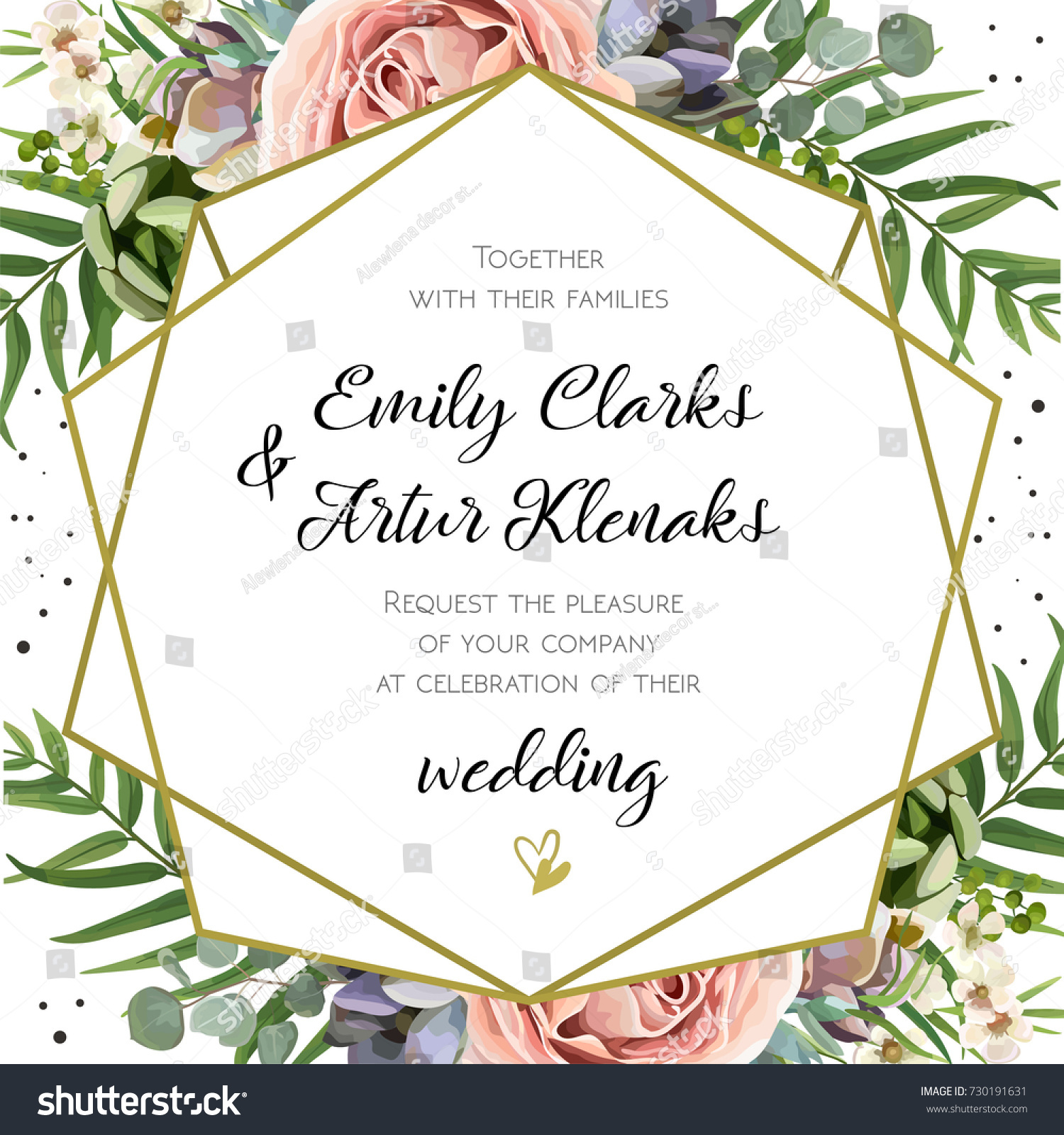 Wedding Invitation, floral invite card Design: Peach lavender pink garden Rose, succulent, wax, eucalyptus, green palm leaves, forest fern greenery geometric golden frame print. Vector cute copy space #730191631