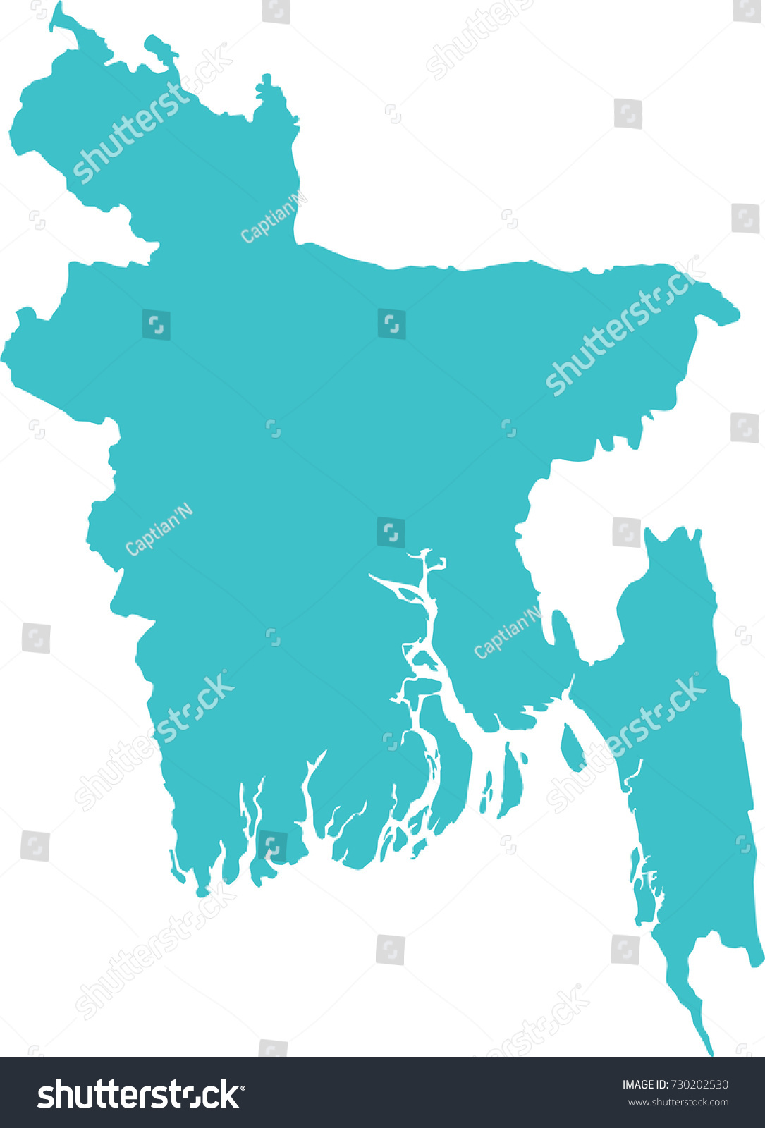 High Detailed Blue Map Bangladesh Isolated