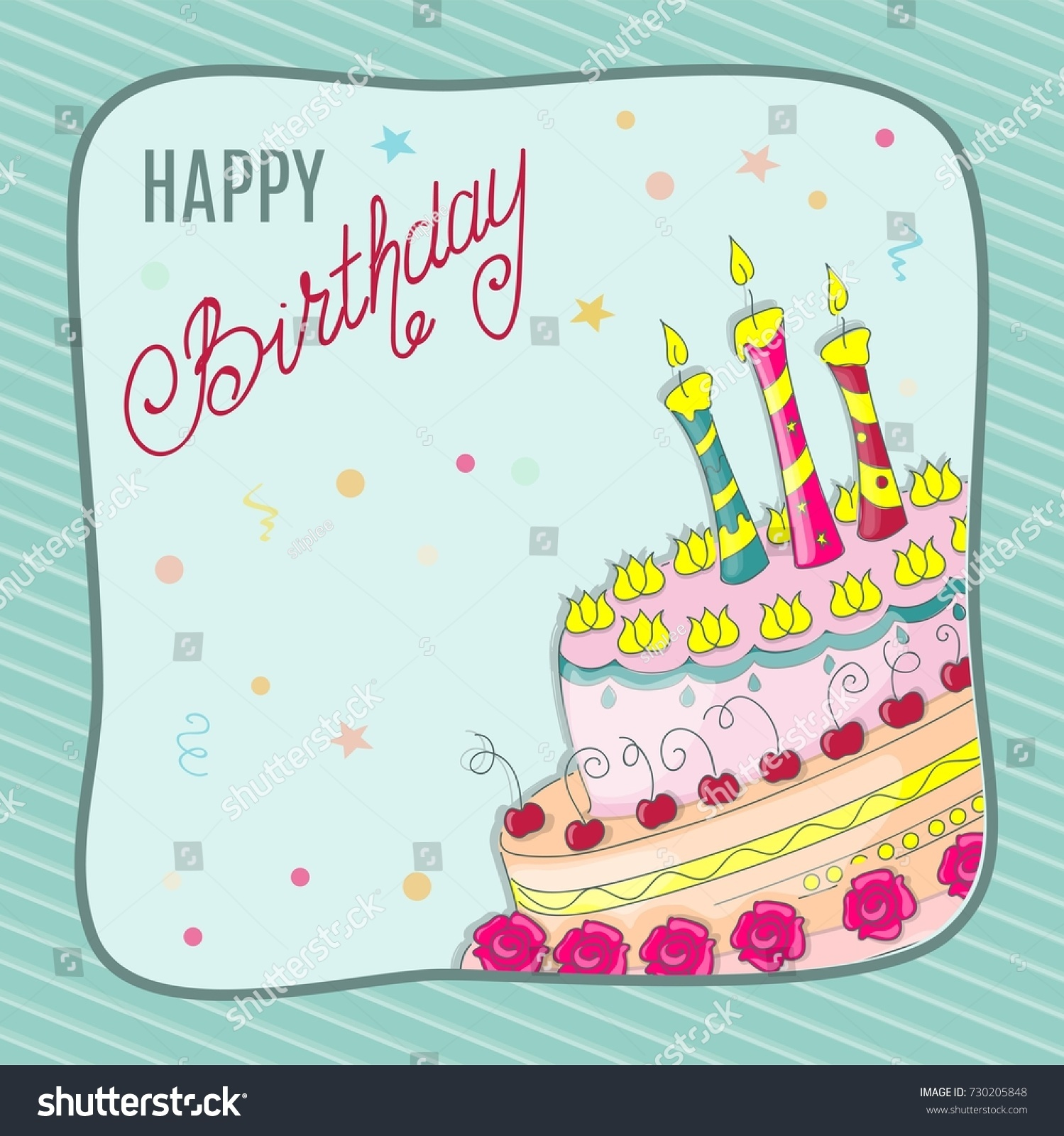 Colorful birthday card part doodle cake stock vector 730205848 colorful birthday card with part of the doodle cake tier three candles handwritten inscription kristyandbryce Image collections
