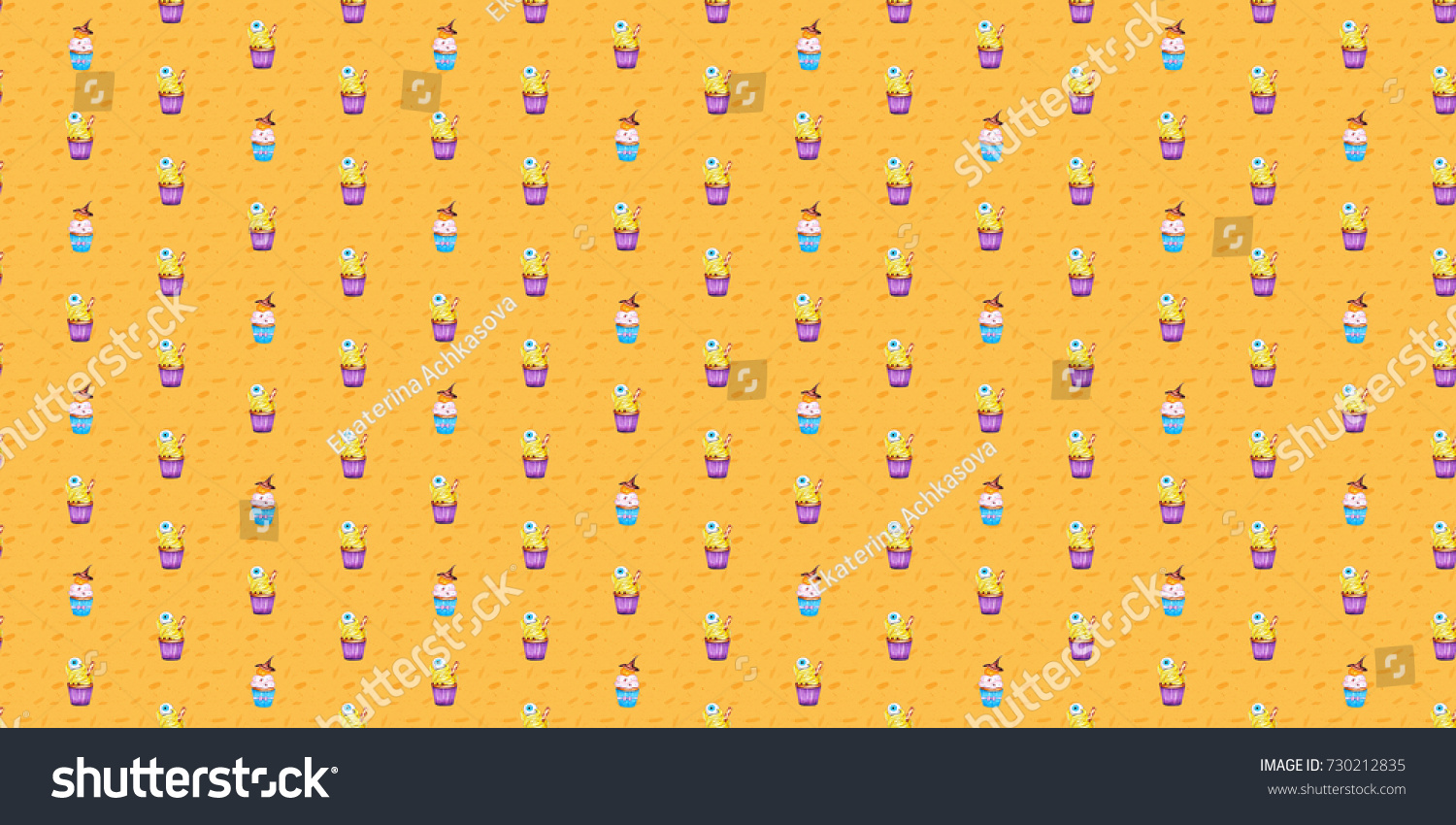 Halloween Seamless Pattern With Hand Drawn Cupcakes On The Pure Yellow Orange Background