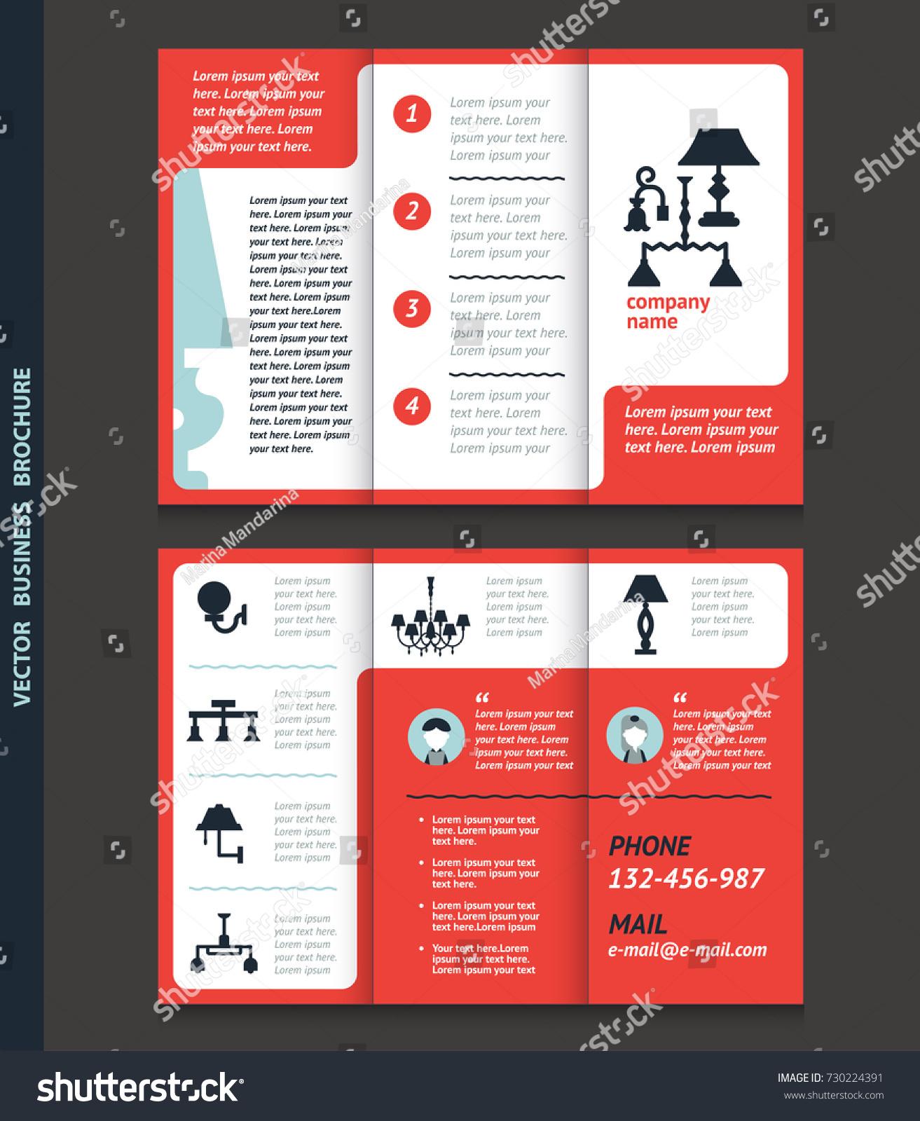 Business Brochure Template Lamps Chandeliers Vector Stock Vector