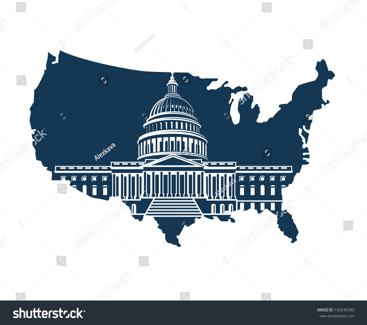 United States Capitol Building Washington Dc Stock Vector - Map of us capitol building
