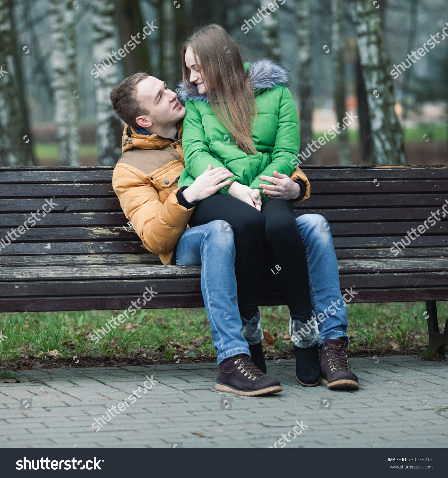 Young Woman Sitting On Lap Guy Stock Photo Edit Now 730235212