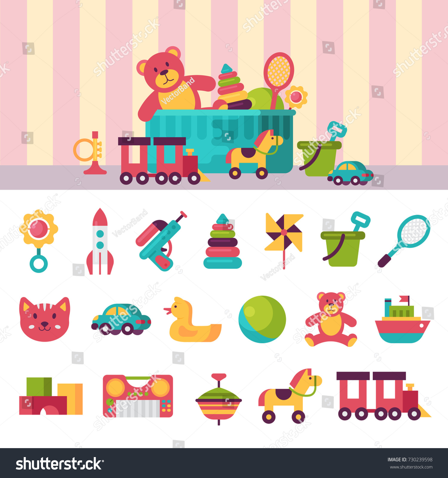 Kids Toys Box Vector Illustration Set Stock Vector