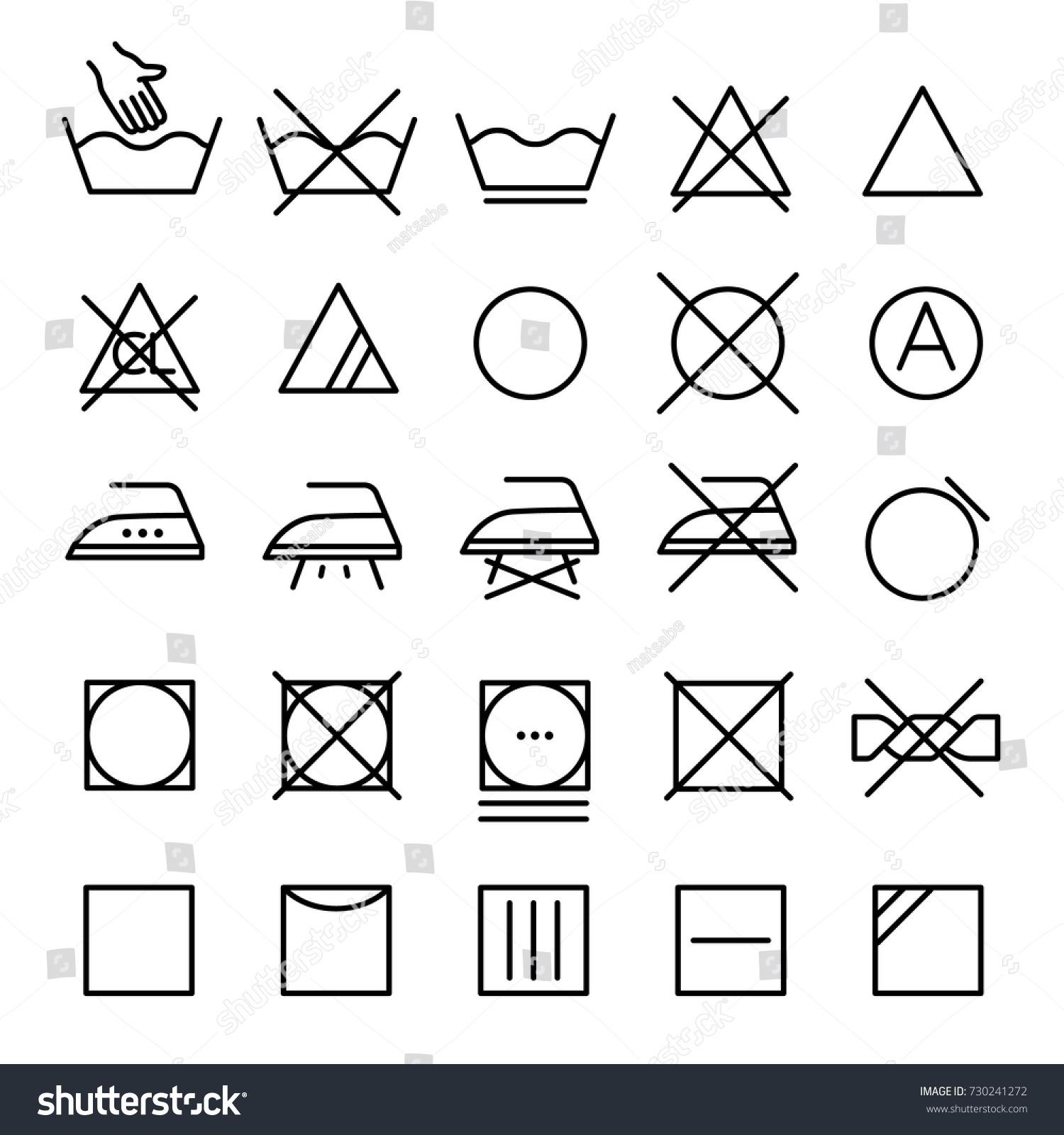 Set Symbols Clothes Washing Wringing Drying Stock Vector Royalty